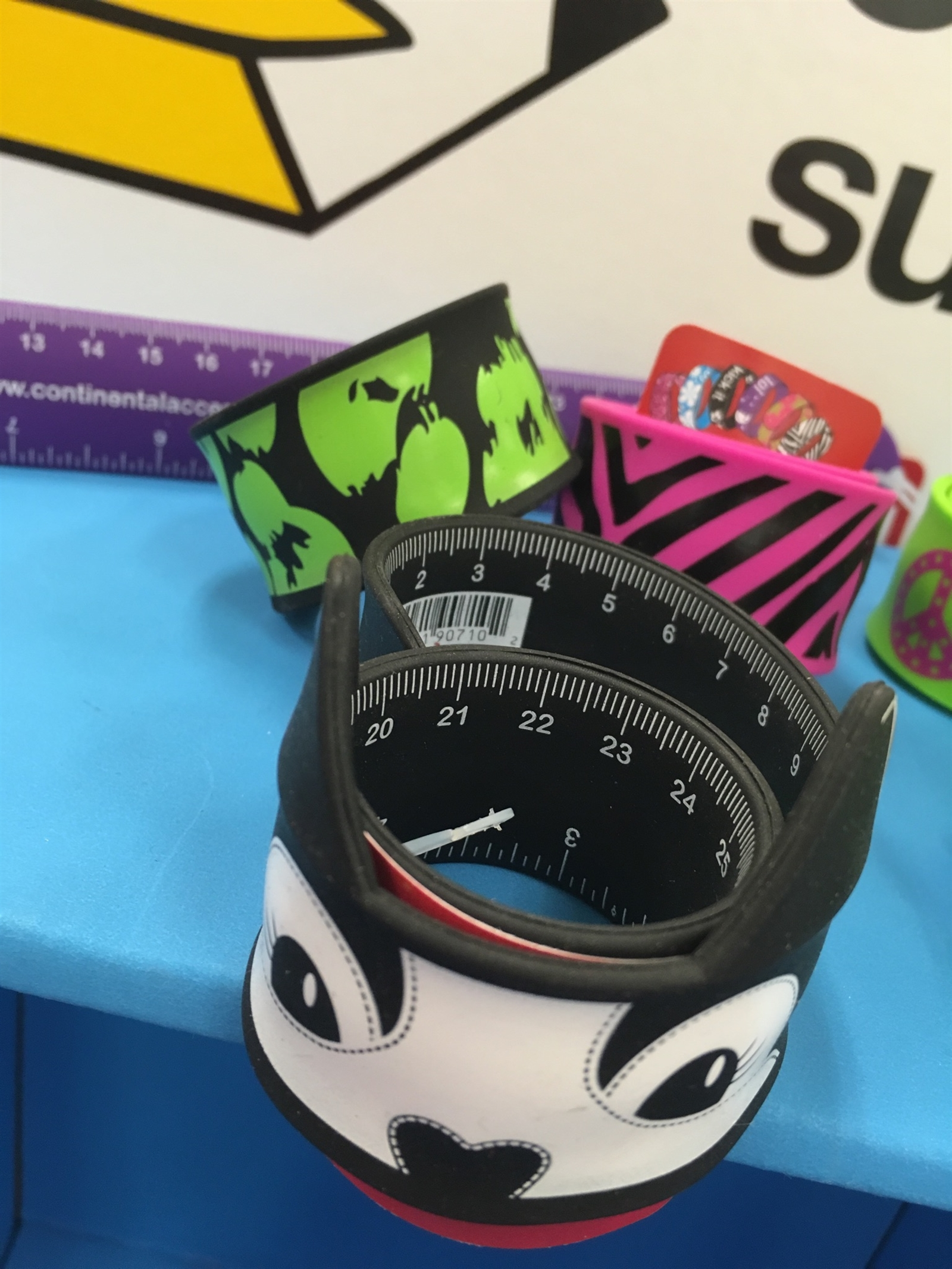 Rulers that are also slap bracelets. If watching six-second Vine videos and communicating via 10-second Snapchats didn't shorten your attention span enough, these should provide sufficient distraction.