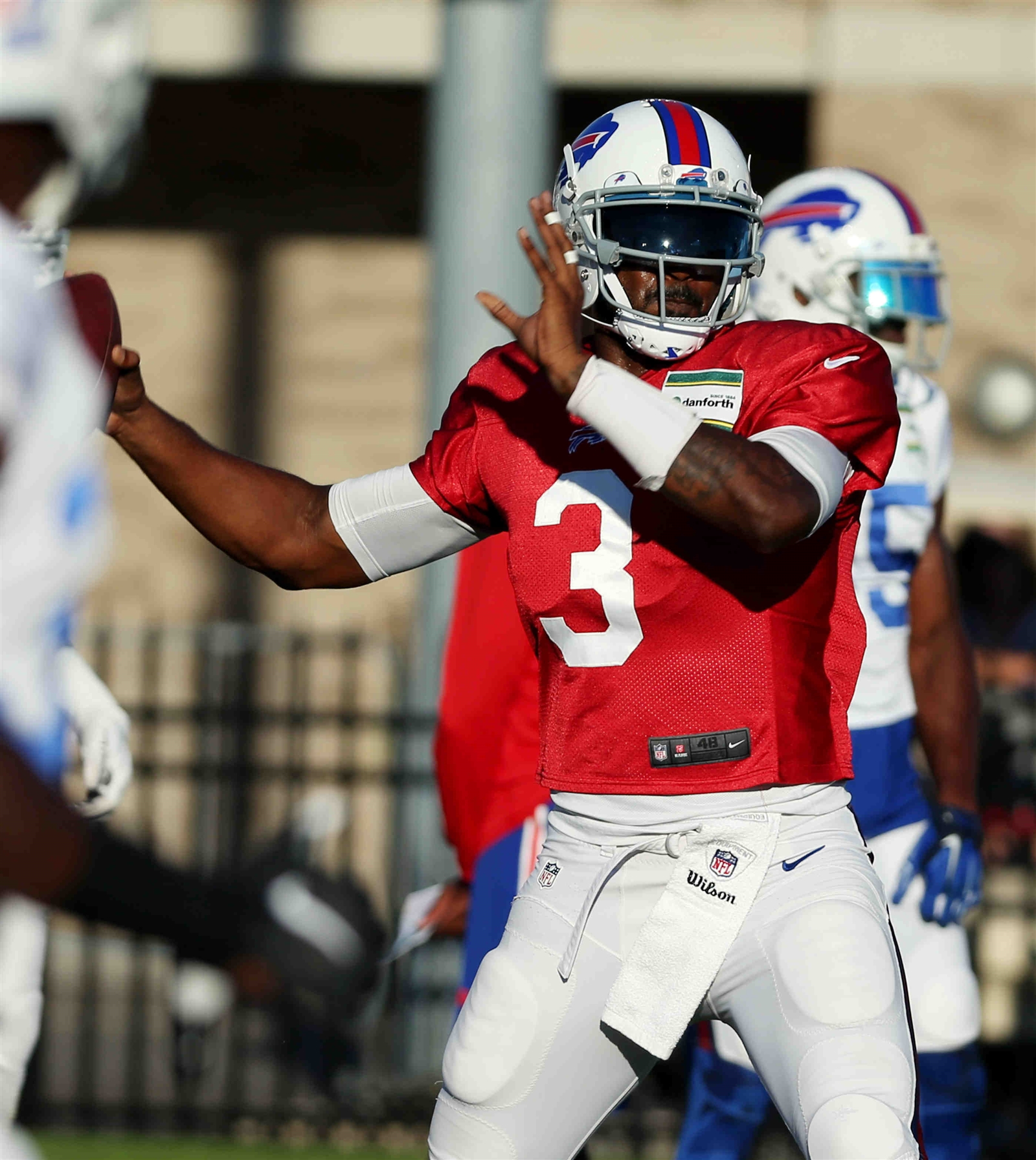 Buffalo Bills quarterback EJ Manuel (3) warms up before Saturday's scrimmage at St. John Fisher College in Pittsford, N.Y.