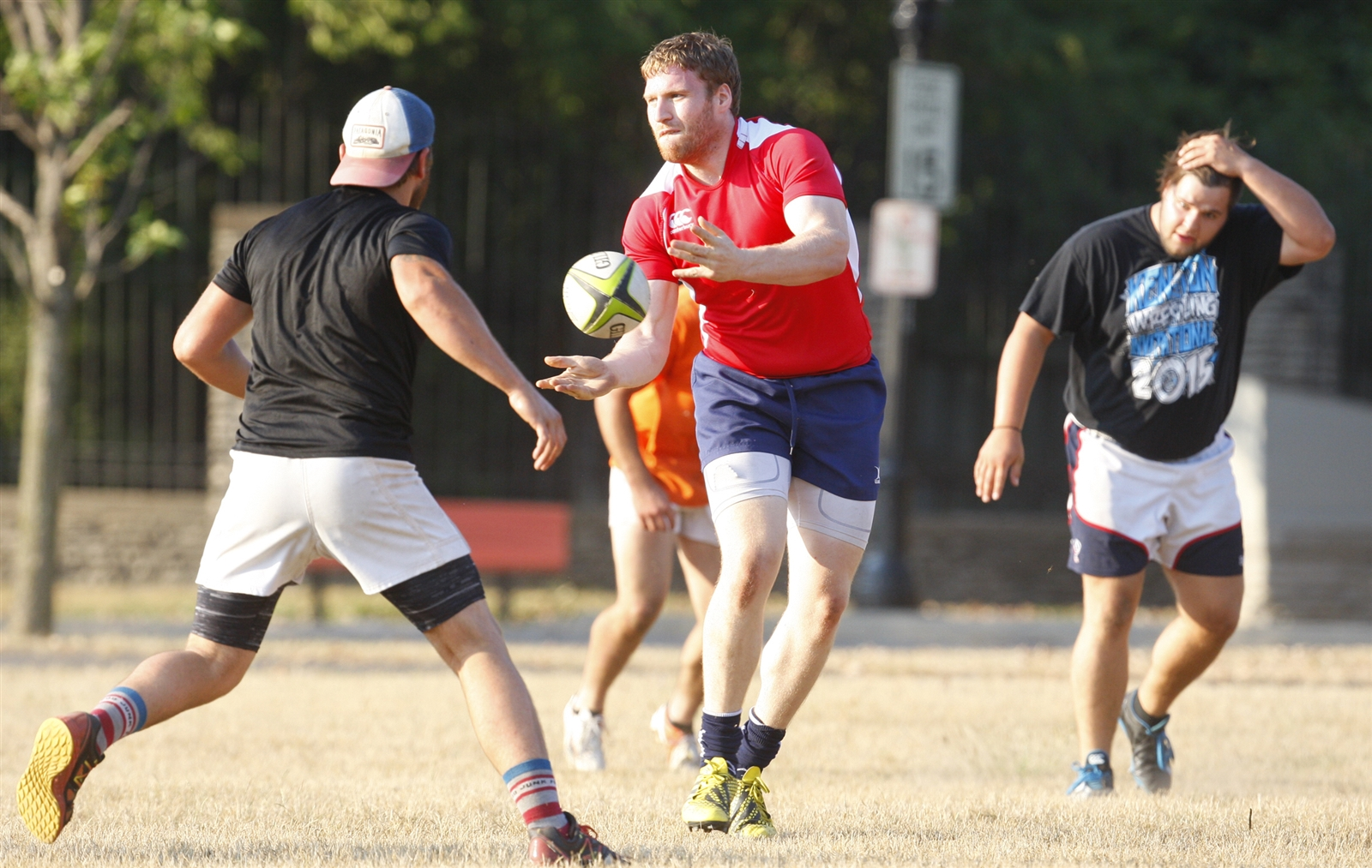 Buffalo Rugby Club player Rick Wiess during practice at Delaware Park.
