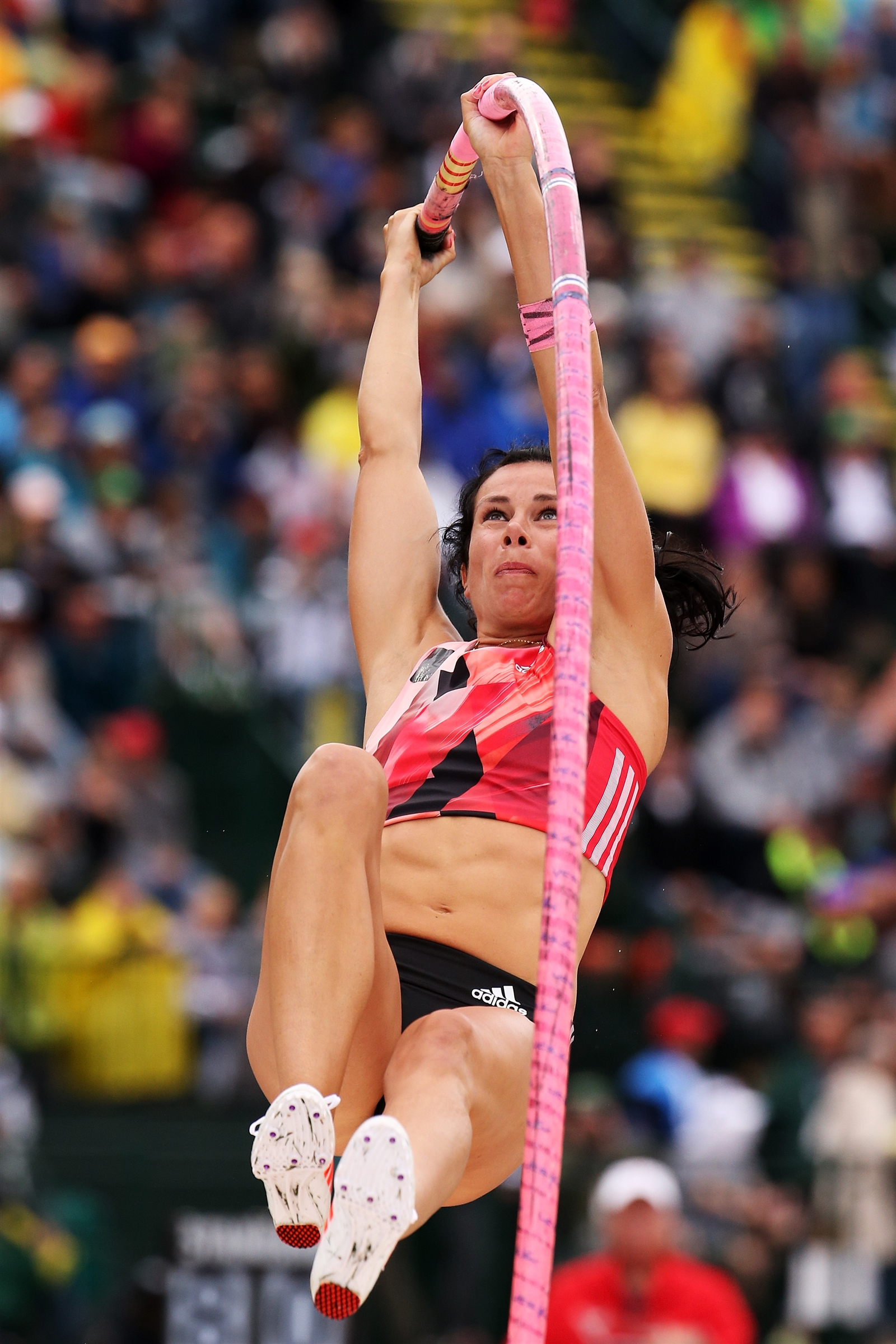 Competing on her way to placing first in the Women's Pole Vault Final during the 2016 U.S. Olympic Track & Field Team Trial.