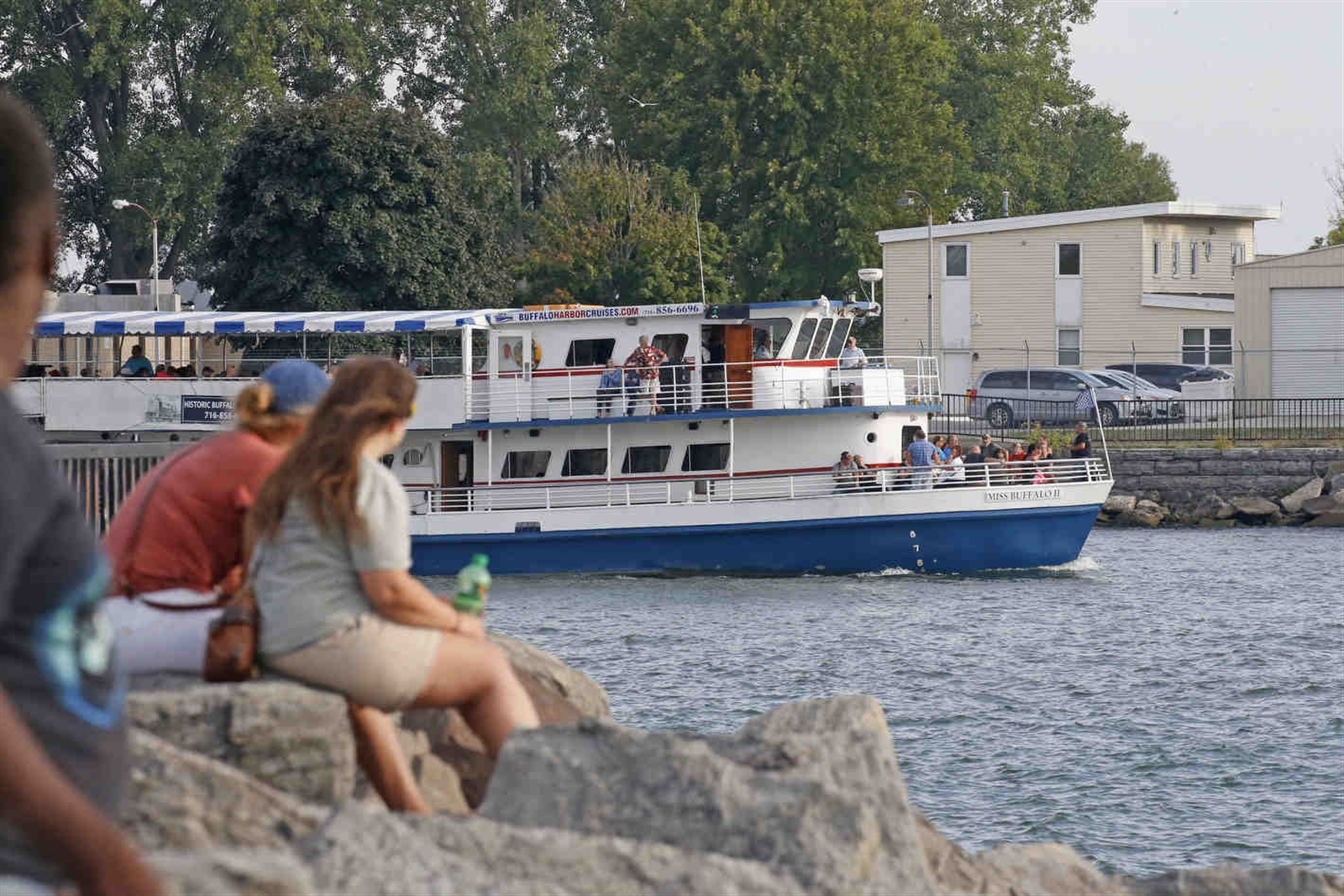 Erie Basin Marina visitors watch the Miss Buffalo underway. Our list of 100 Things every WNY-er should do at least once includes the Miss Buffalo sightseeing ship that takes a relaxing 2-hr ride along the shores of Lake Erie and Niagara canal system. This was on Wednesday, Aug. 24, 2016.