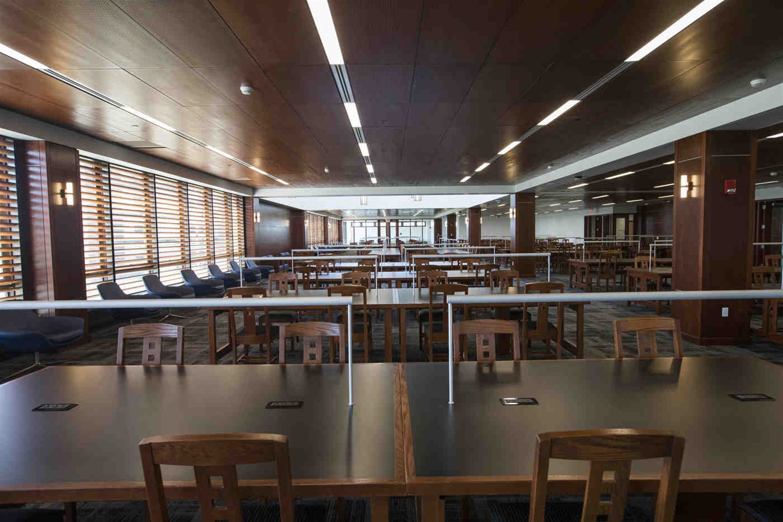 The Grand Reading Room in the newly renovated Silverman Library on UB's North Campus where power outlets have replaced bound books. A $7.2 million makeover has transformed the library for a digital age.