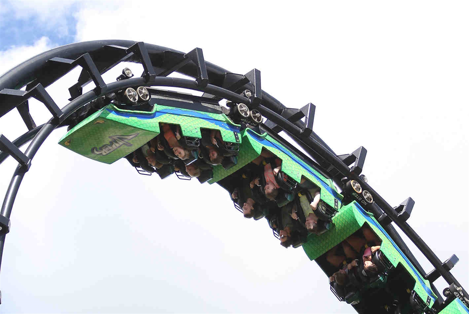Visitors enjoy the ride, Thursday, Sept. 1, 2016.  There are several points along the ride where the riders are upside down.