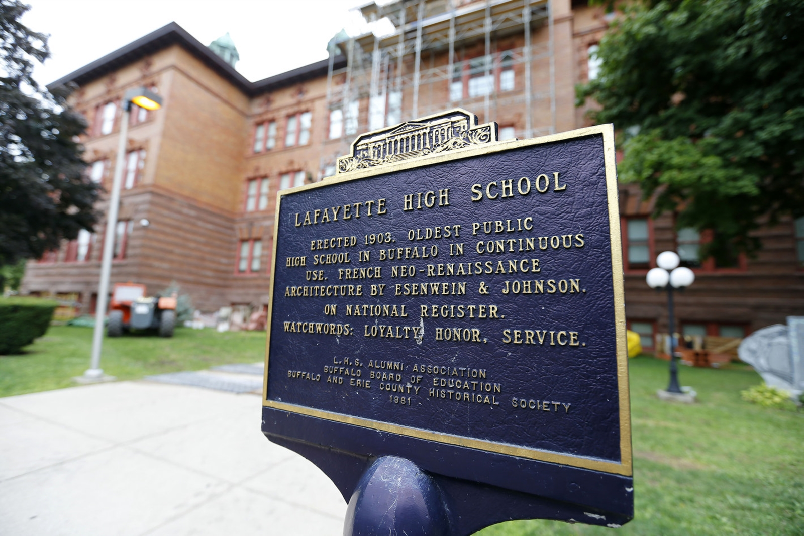 Lafayette High School was the third high school built in Buffalo, and the oldest that still remains in its original building. The school was constructed in 1901 by Mosier and Summers and designed by Buffalo architects Esenwein and Johnson.