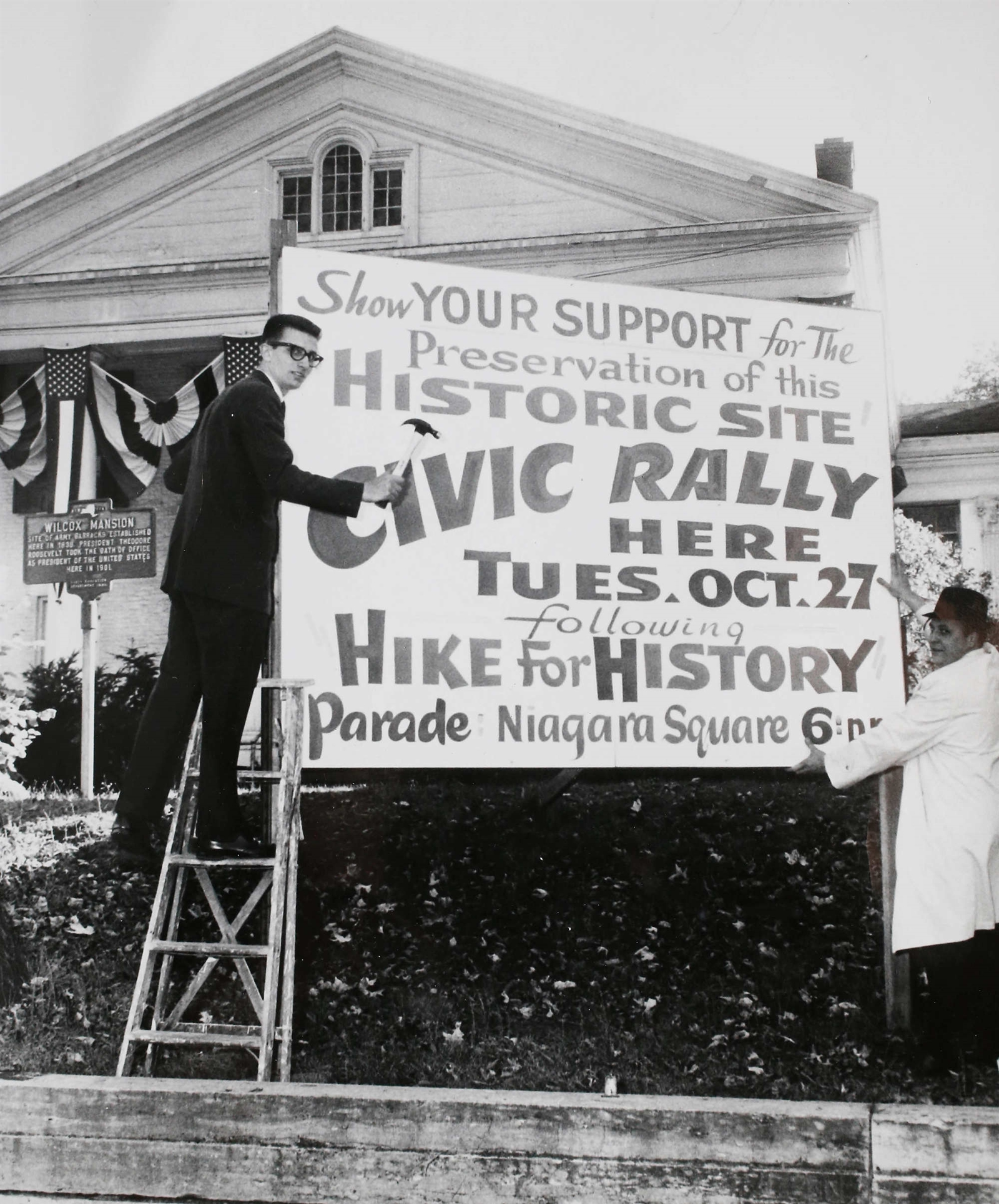 "A civic rally in support of the Wilcox Mansion, Oct. 20, 1964. Historian Richard M. Hurst has stated ""the Ansley Wilcox house at 641 Delaware Avenue is architecturally interesting, socially important and historically significant."""