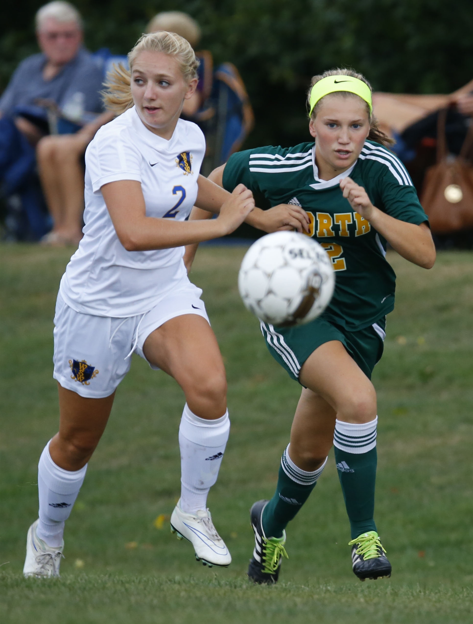 West Seneca West's Cassie Siwy and Williamsville North's Lianna Van Sice battle for a loose ball during first-half action at the West Seneca Soccer complex on Thursday, Sept. 8, 2016.