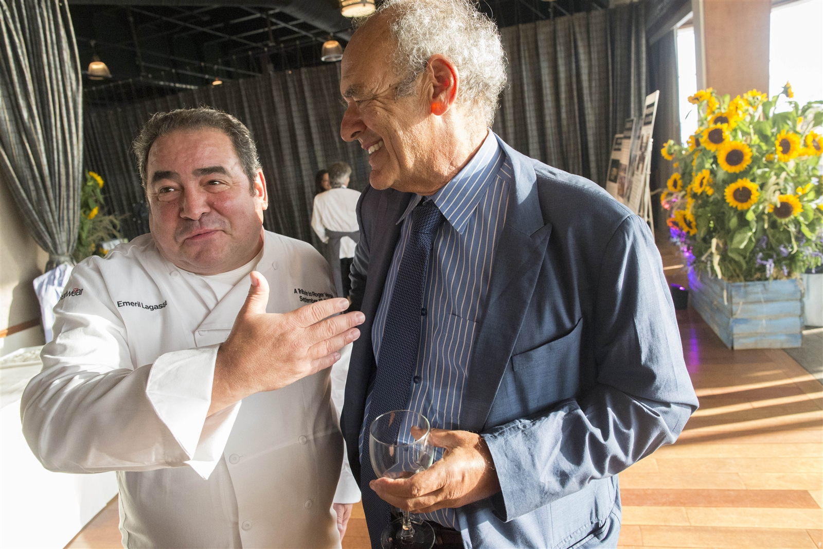 Legendary producer Shep Gordon, right, chats with celebrity chef Emeril Lagasse during a fundraiser to start a scholarship to the Culinary Institute of America in honor of his late friend, legendary chef Roger Verge, at the Lighthouse at Chelsea Piers in New York City. Name dropping is what happens when you tell the story of Shep Gordon, because the man knows everyone the rest of us want to know, and more.