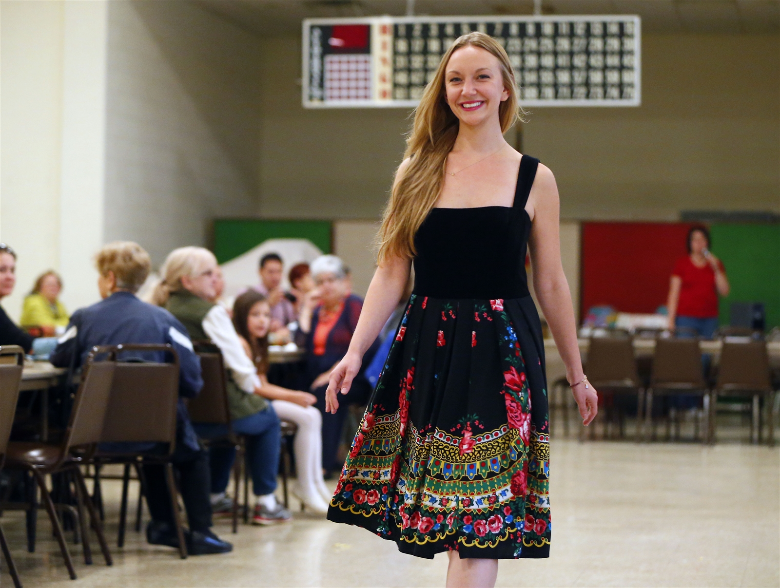 Model Corinne Lasek wears a dress designed by Recultured Designs of Warsaw, Poland, during a fashion show celebrating Polish women and the beginning of Polish Heritage month at the Holy Mother of the Rosary Parish hall in Lancaster on Saturday, Oct. 1, 2016.