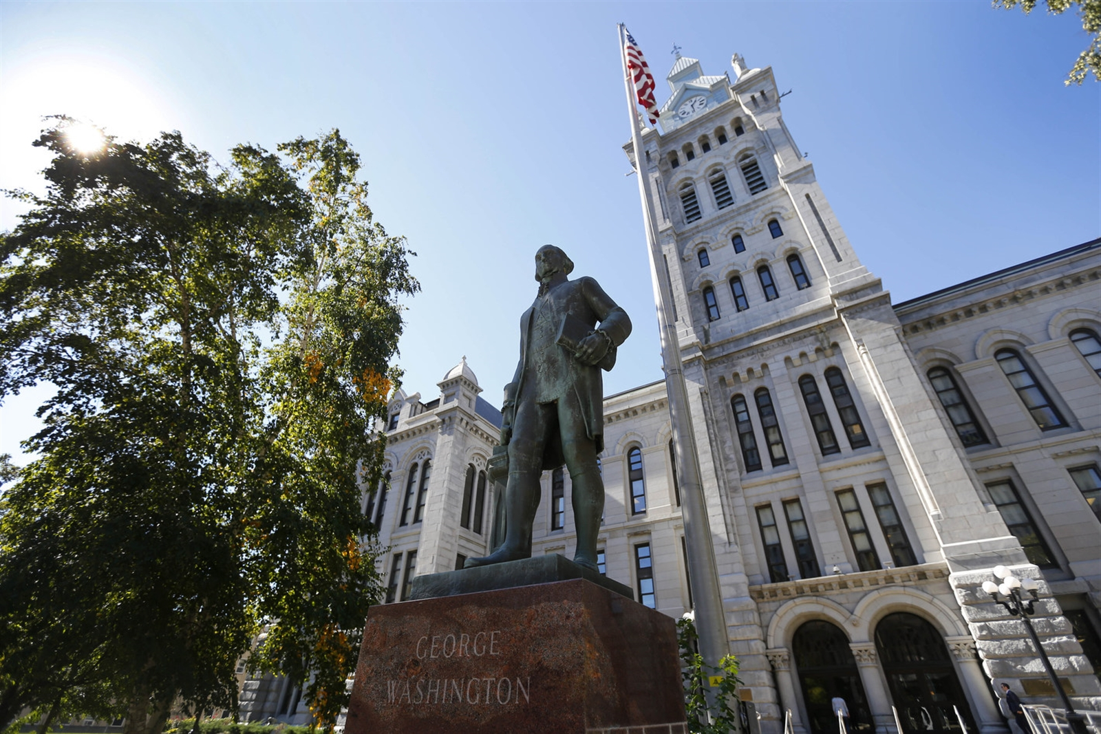 A statue of George Washington stands in front of Old Erie County Hall on Franklin Street in Buffalo. The statue was erected by the Erie County Masonic Foundation in celebration of the countries bicentennial in 1976.