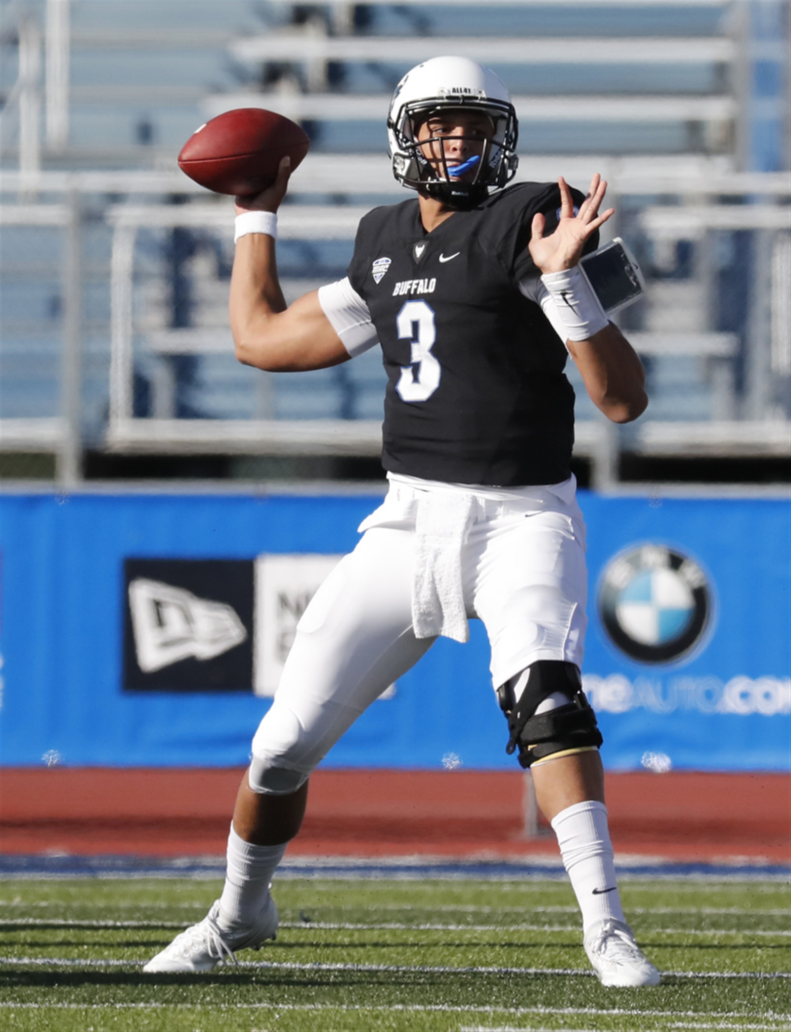 University at Buffalo quarterback Tyree Jackson throws against Ball State during first half action on Saturday,Oct. 15, 2016.(Harry Scull Jr./Buffalo News)