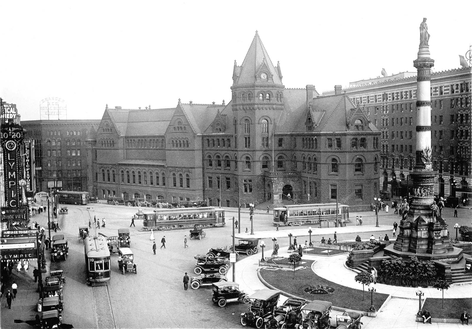 This photo from the Buffalo & Erie County Public Library archives shows Lafayette Square as it looked around 1916. Notice the streetcars and the original Buffalo Library, which was dedicated in 1887 and in service until 1963.