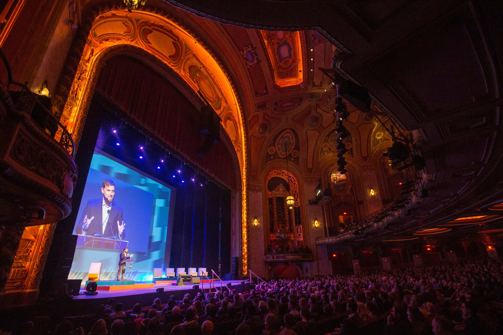 Luke Russert emcees the 43 North finals at Shea's Buffalo Theatre, Thursday, Oct. 27, 2016.  (Derek Gee/Buffalo News)