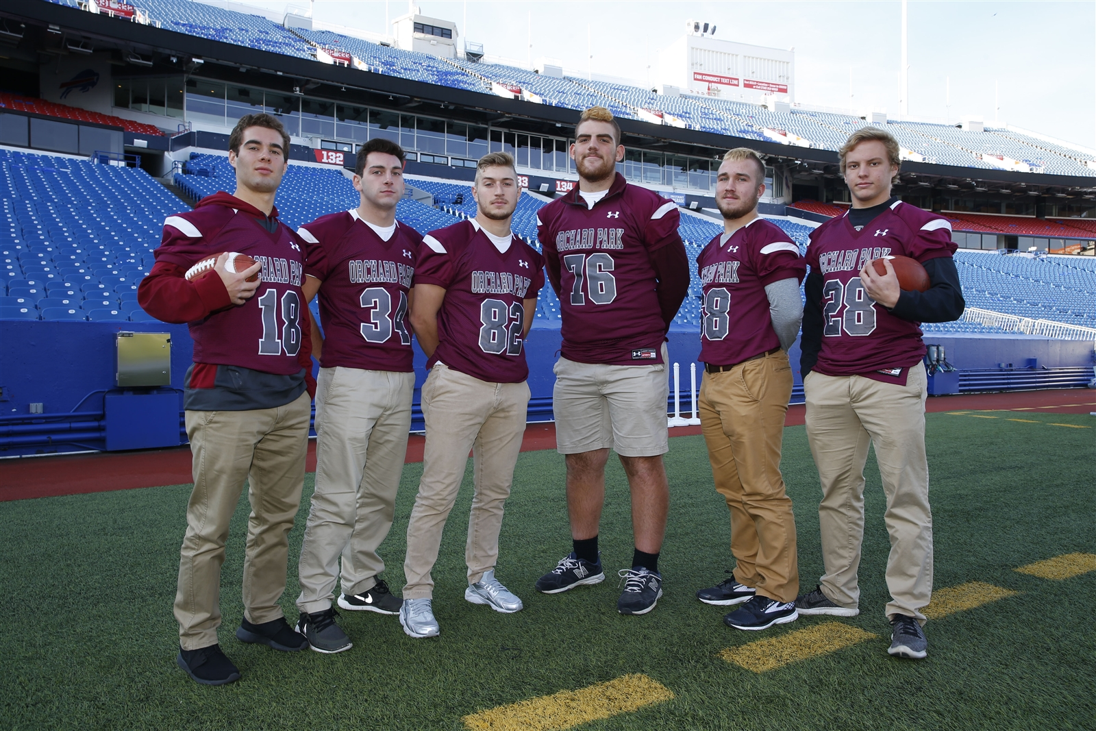 Orchard Park players pose for a photo during Section VI Media day.