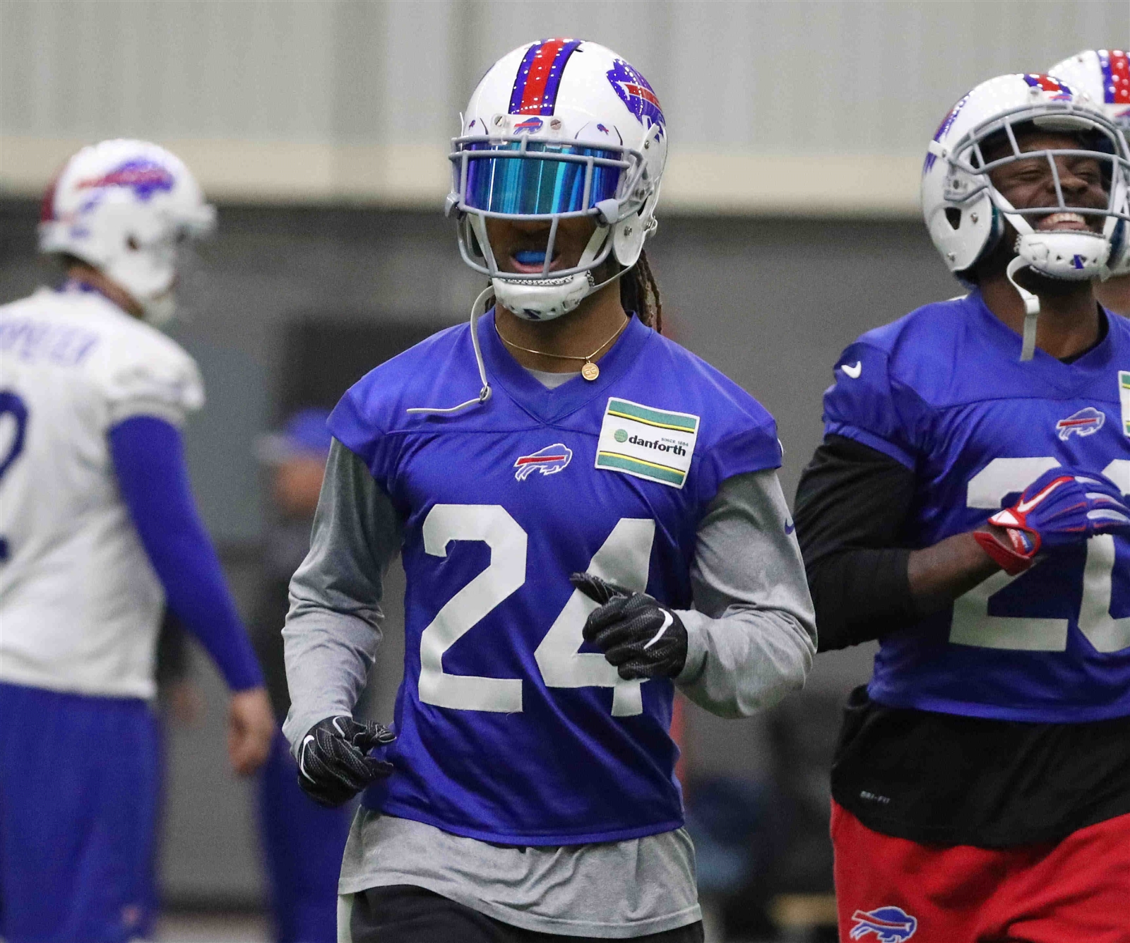 Buffalo Bills cornerback Stephon Gilmore (24) participates in drills during practice.