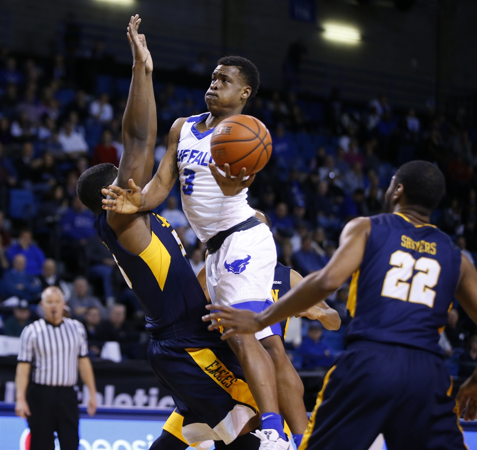 University at Buffalo's Davonta Jordan drives to the basket against Coppin State during first half action at Alumni Arena on Saturday, Dec. 10, 2016.