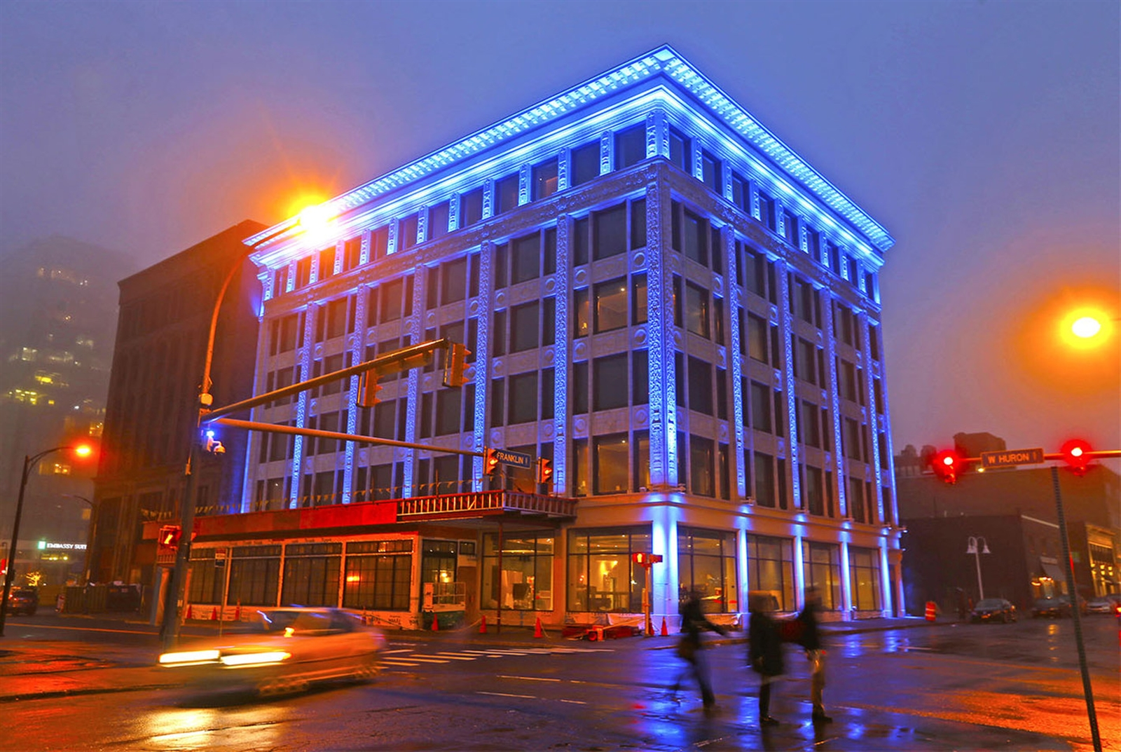 The exterior lighting, rotating through a rainbow of colors, has been drawing attention to the Curtiss Hotel, a former office building at Franklin Street and West Huron.