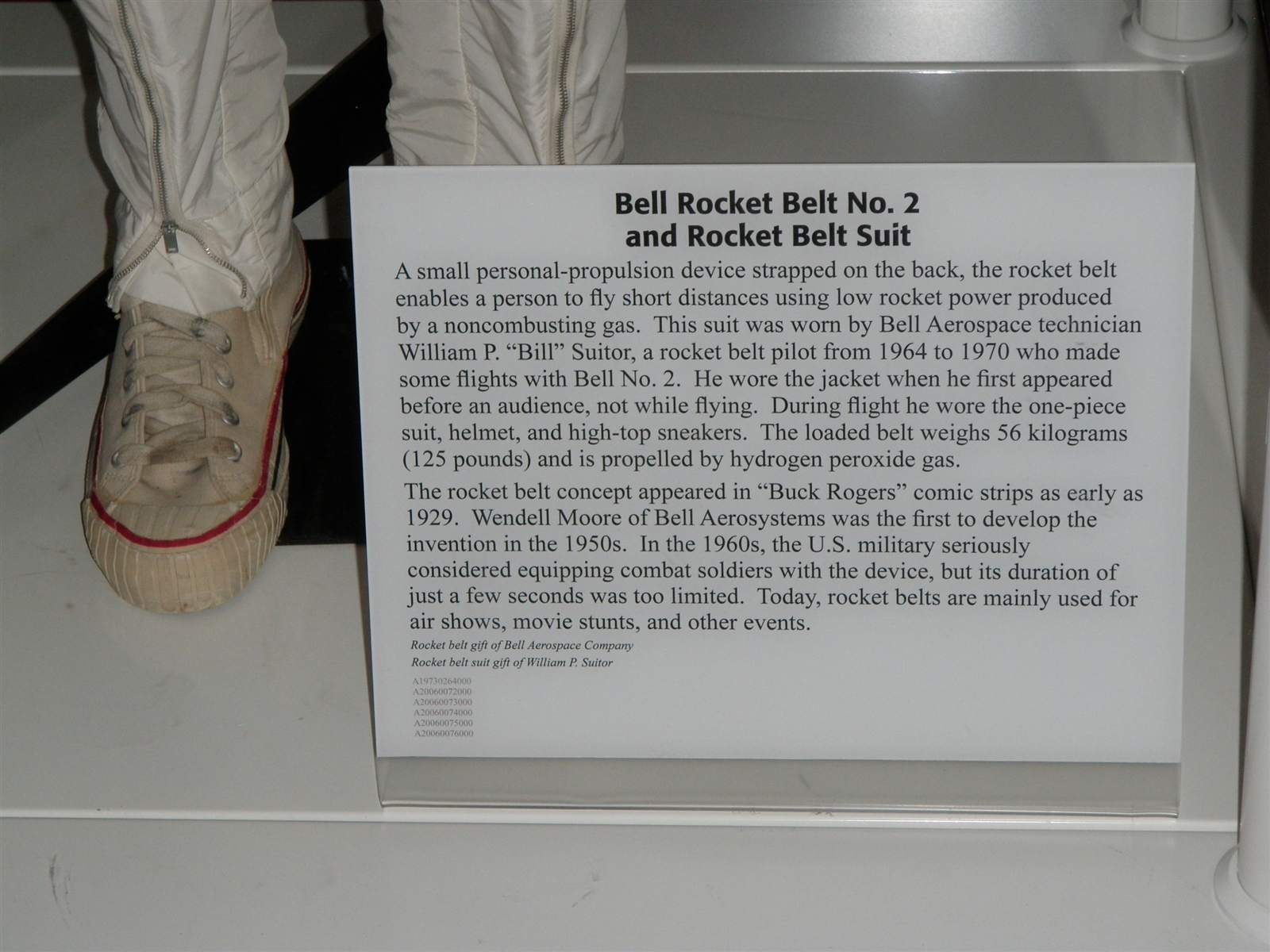 A sign at the bottom of the rocket belt display at the National Air and Space Museum at Washington Dulles International Airport.