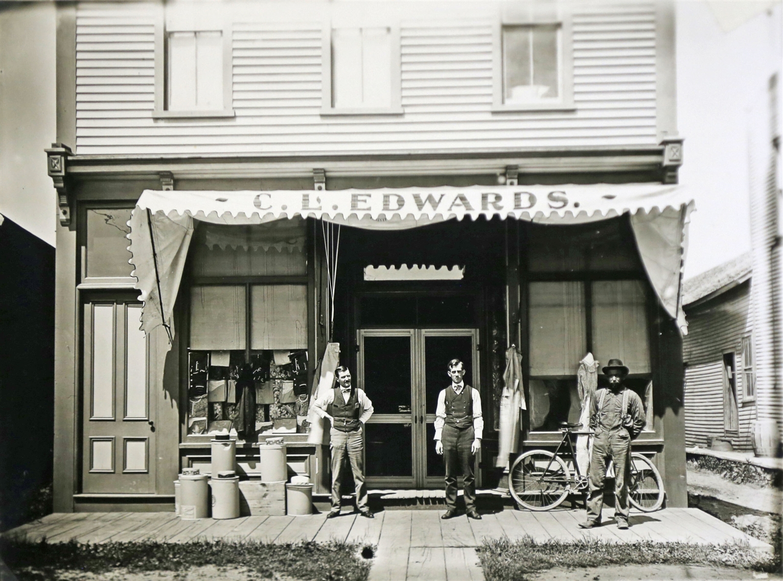 An old photo of C. L. Edwards Store, which later became Skiff's Store.