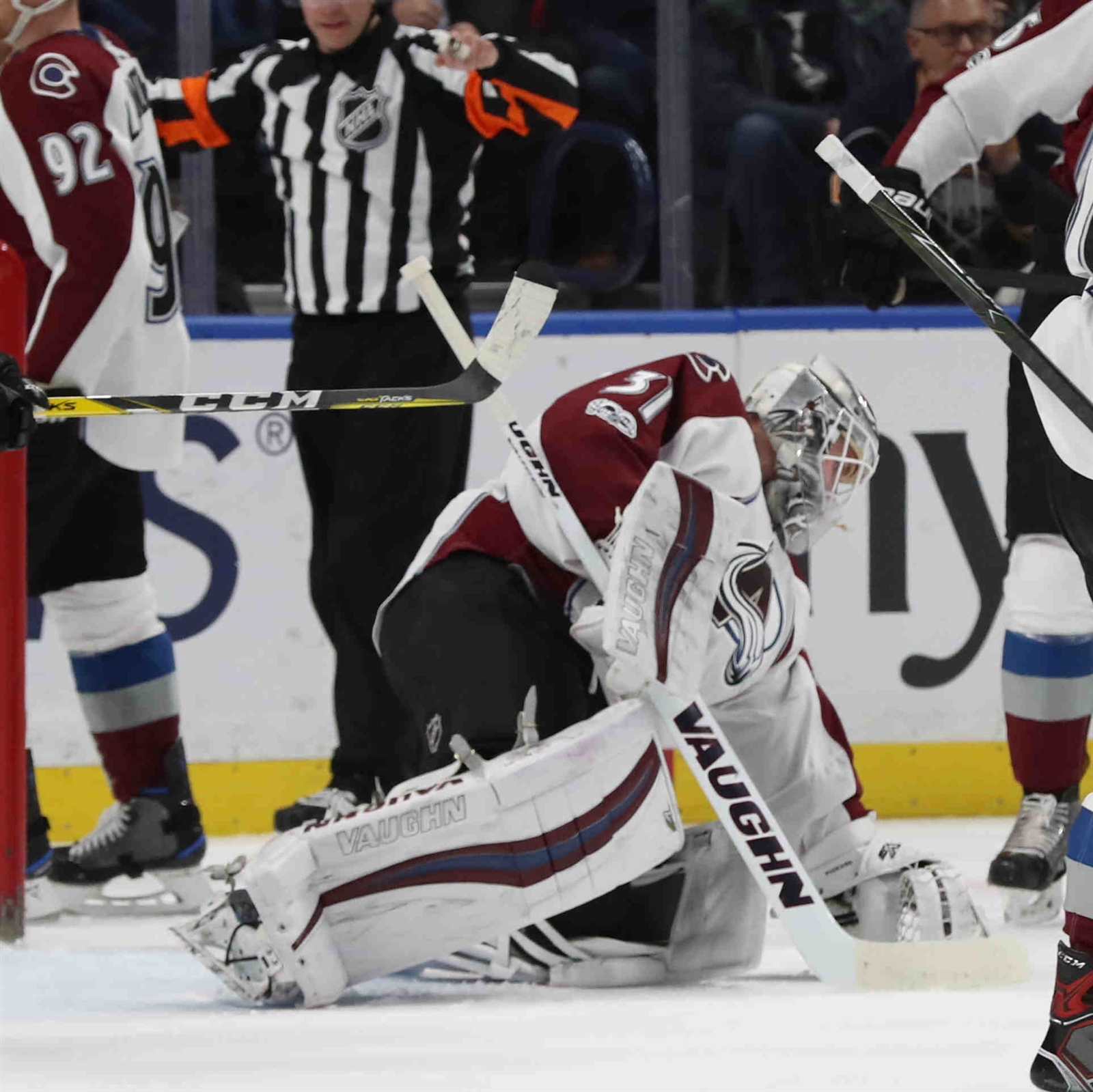 Colorado Avalanche goalie Calvin Pickard (31) makes a save in the first period.