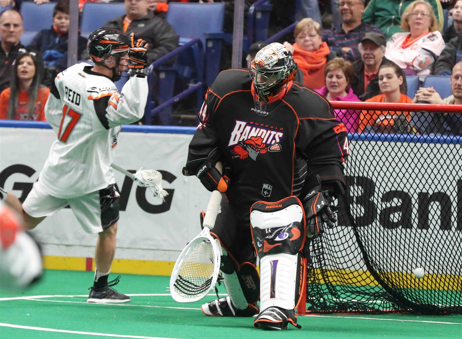 Buffalo Bandits' Davide DiRuscio gives up a goal to New England Black Wolves' Zac Reid in the first quarter.