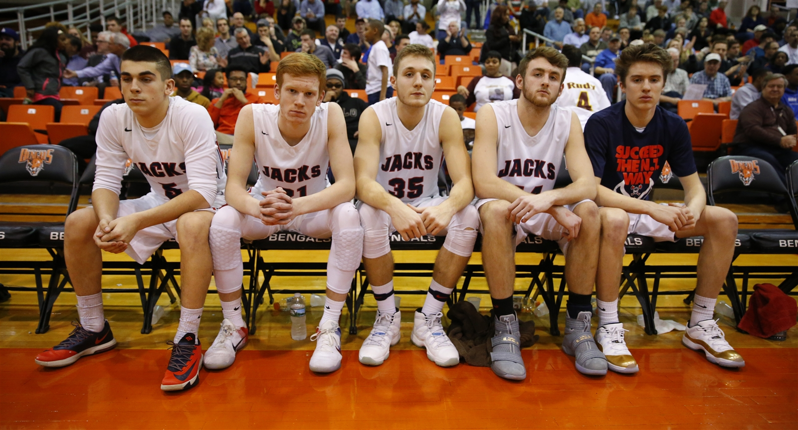 North Tonawanda starters wait to be introduced prior to playing Grand Island for the Class A1 Semi-final at Buffalo State on Tuesday, Feb. 28, 2017.