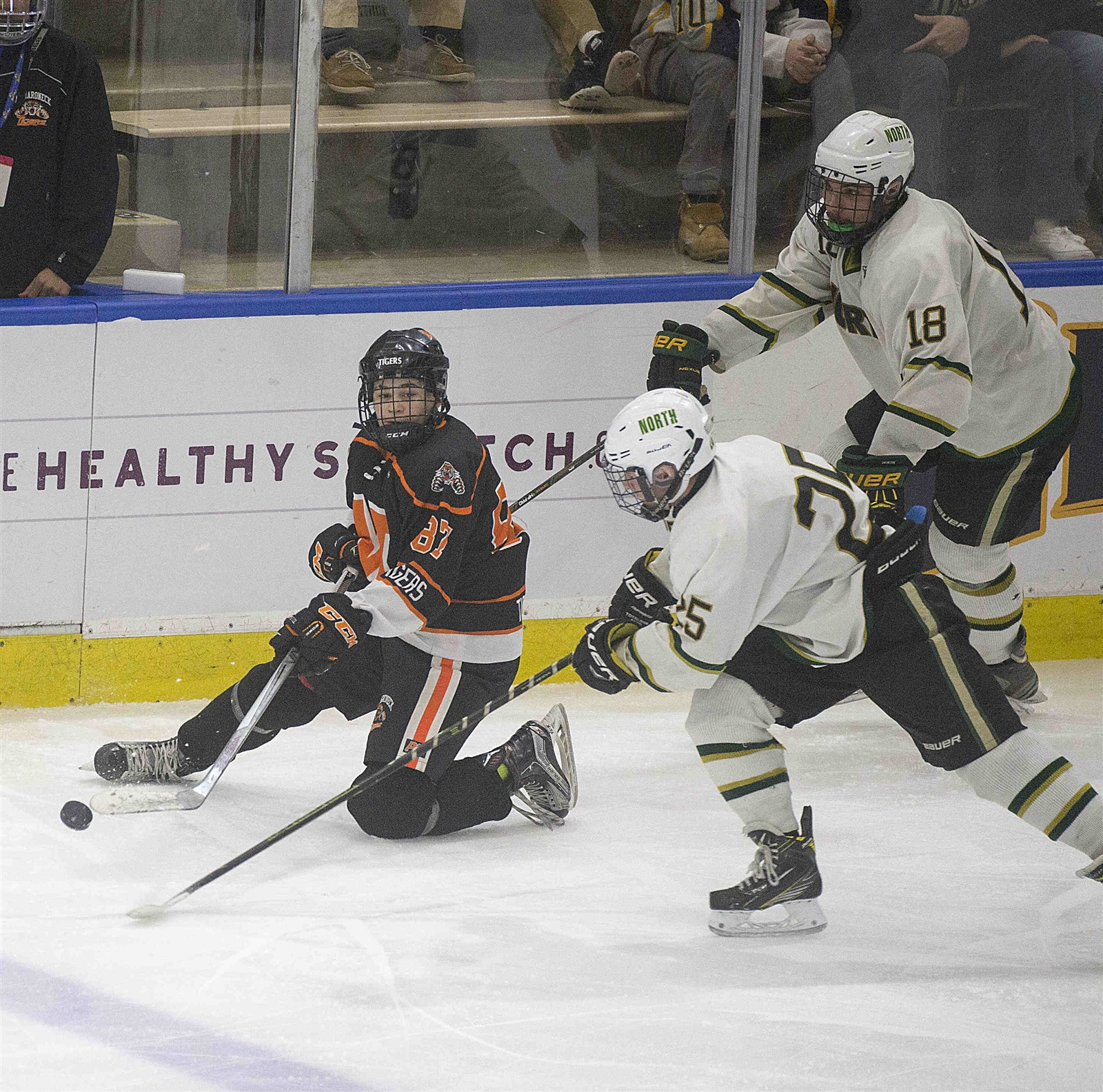 Williamsville North's Dan Mosher (25) covers Mamaroneck's Harrison Schreiber (87) as he struggles with the puck. (John Hickey/Buffalo News)