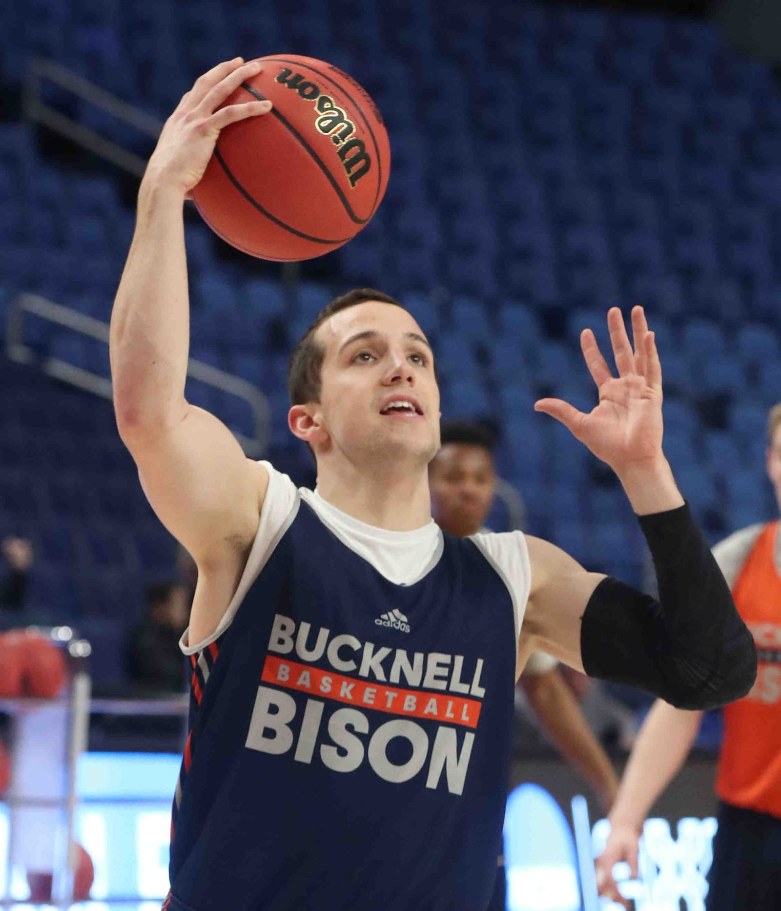 Bucknell Bison guard Kimbal Mackenzie (1) shoots the ball during practice today.