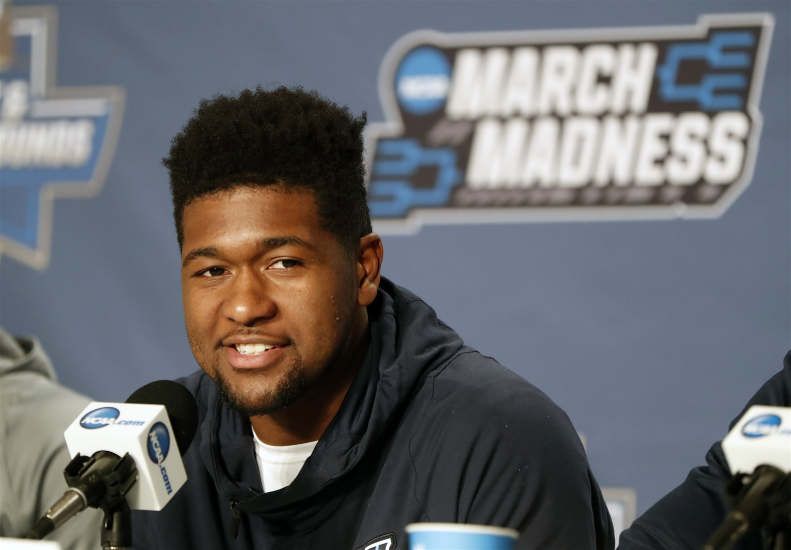 Villanova Kris Jenkins speaks before NCAA first round tournament practice at the KeyBank Center on Wednesday, March 15, 2017.
