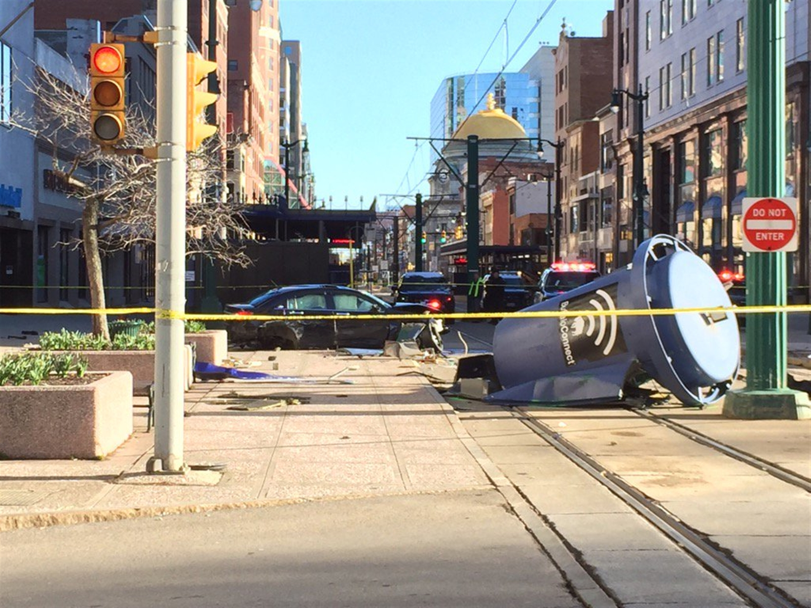 Scene at Main and Court where a stolen car crashed Saturday around 8 a.m., NFTA police said.