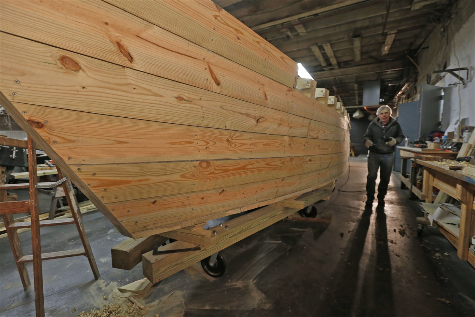 The 42-foot replica Erie Canal cargo boat is being built at the Buffalo Maritime Center on Arthur St. in Buffalo on Tuesday, Jan. 31, 2017.