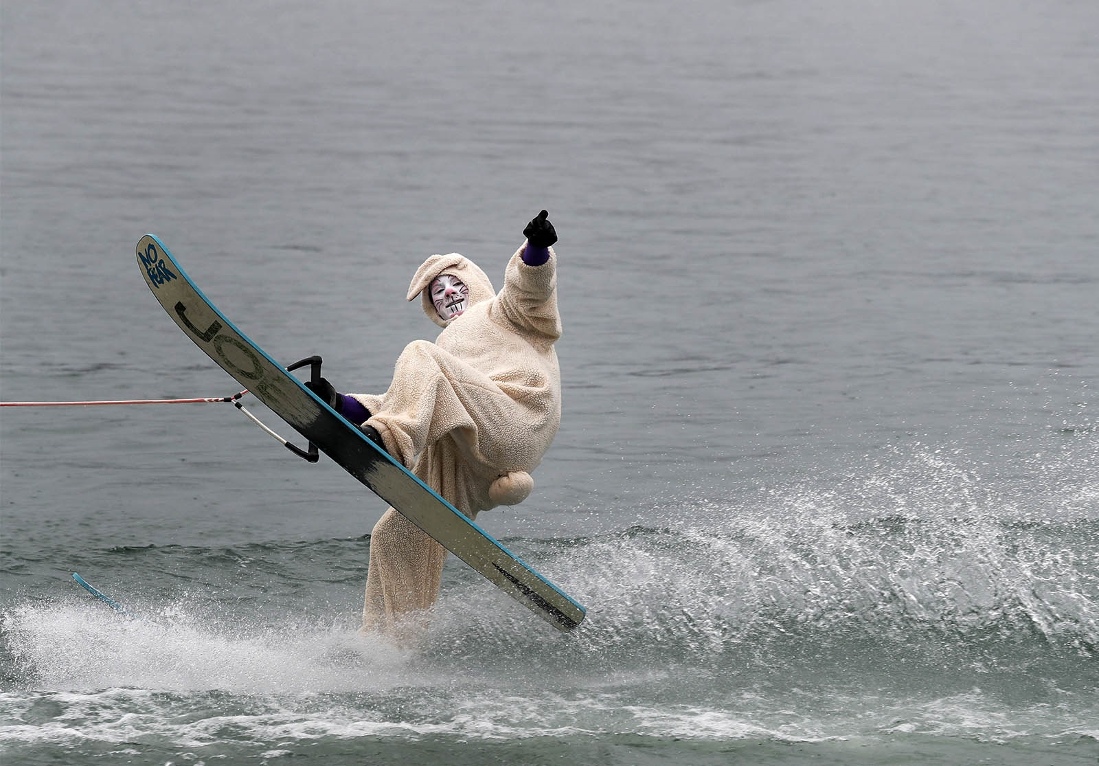 The Easter Bunny takes to the cold waters of the Niagara River as the Neptune Water Ski Club hosts a day with the Easter Bunny at the boat launch in Lewiston.