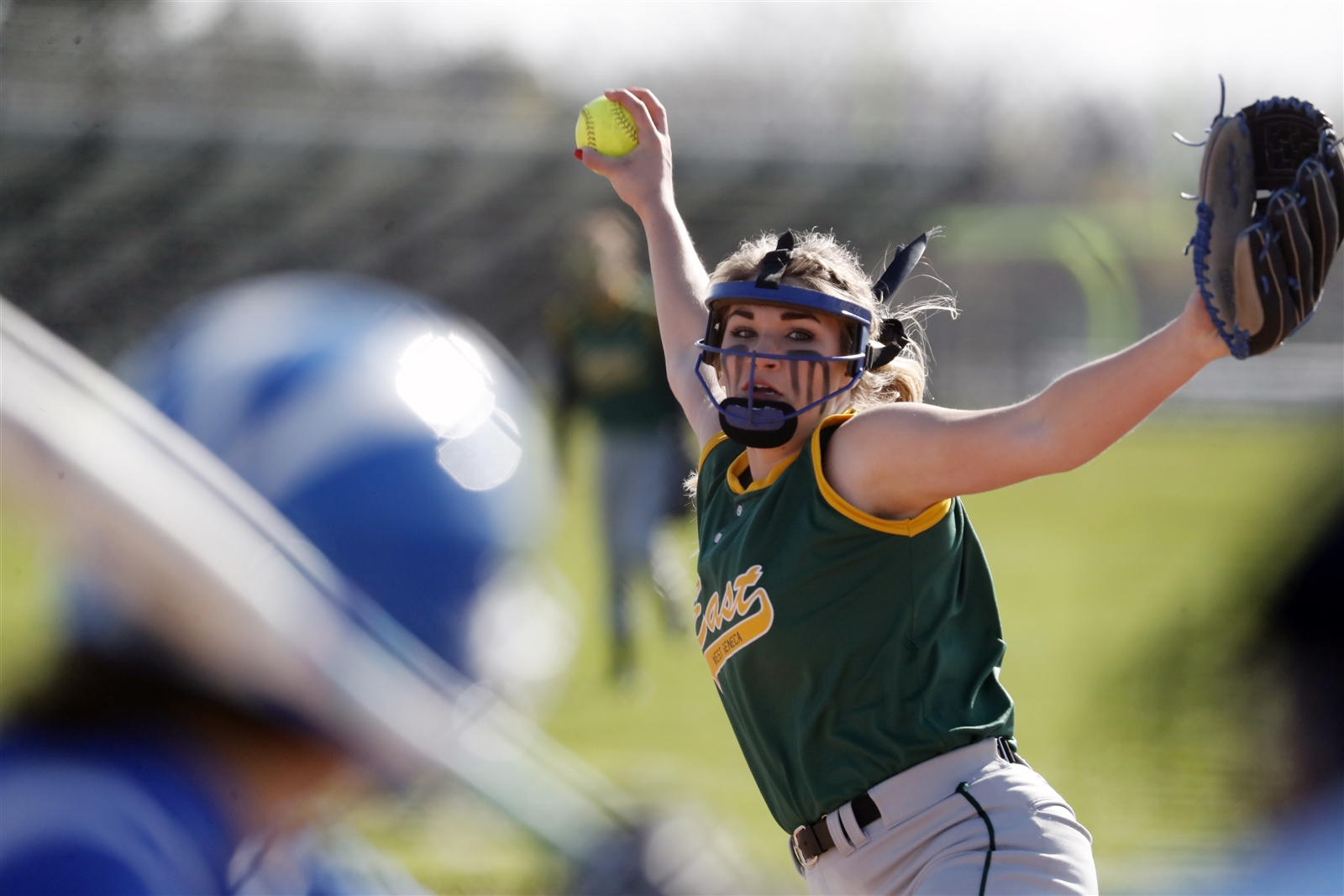 West Seneca East pitcher Anilese Kelly pitches to Williamsville South.