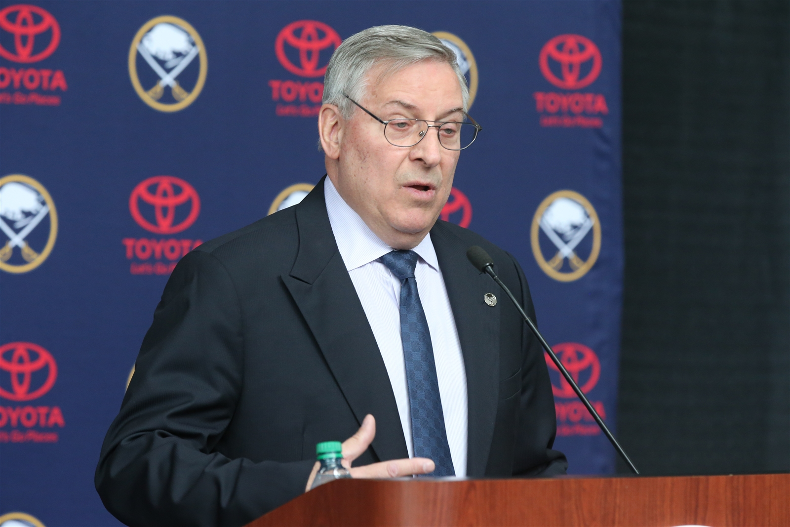 Sabres owner Terry Pegula holds a press conference at KeyBank Center to explain his firing of GM Tim Murray, coach Dan Bylsma and other staff.