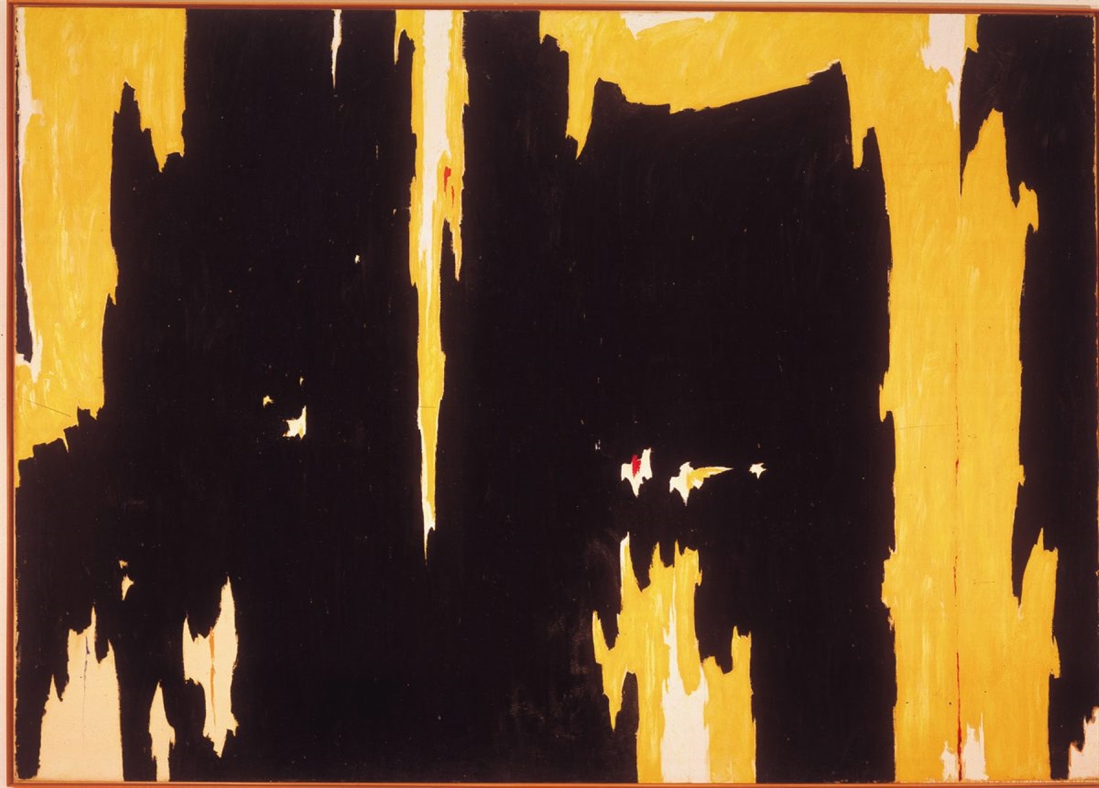 1957-D, No. / Clyfford Still / 1957. Jagged yellow stalactites and stalagmites jut into the center of this mammoth piece, one of the most famous by the fiercely independent artist Clyfford Still. Though itu2019s easy to compare the piece to the similarly jagged and awe-inspiring landscape of the American Southwest, the forms of the painting actually may have their basis in the human body. The piece is nothing less than Stillu2019s attempt to create art that captures something essential about the human soul, something you can decide for yourself if this piece accomplishes. No matter what it says to you about your species, its rough beauty is tough to deny.