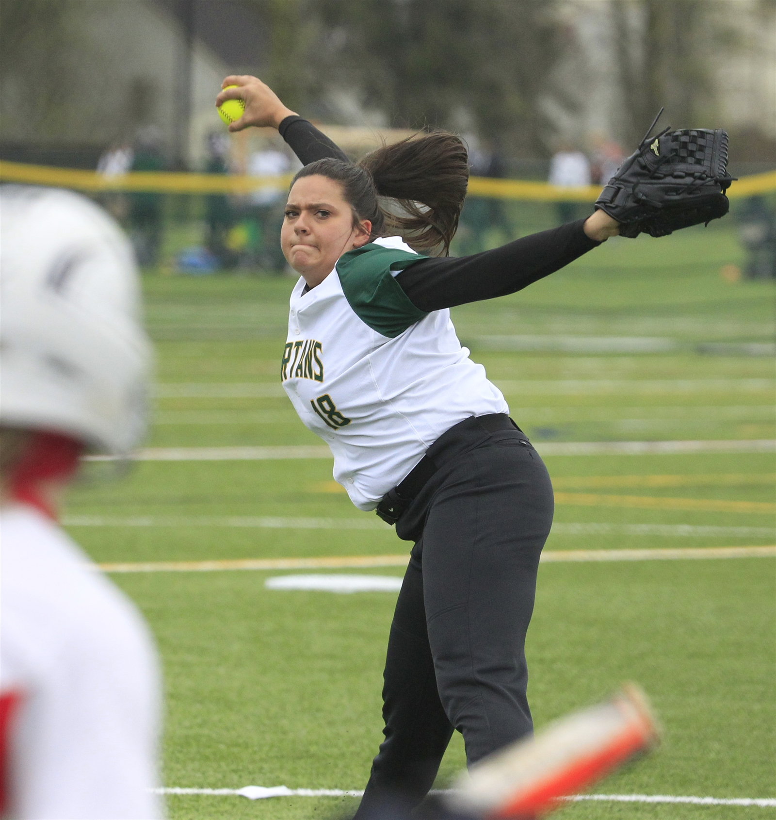 Williamsville Northu2019s Emily Nicosia pitches to Jamestown at Williamsville North High School on Saturday, May 6, 2017.