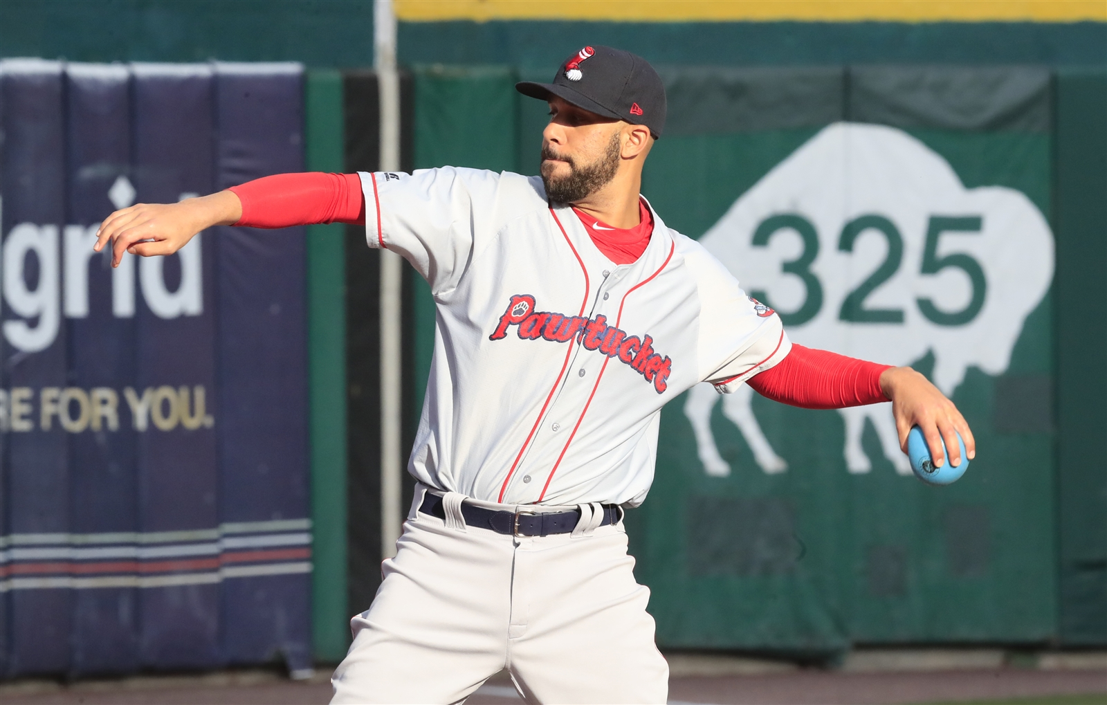 Pawtucket Red Sox pitcher David Price warms up prior to playing the Buffalo Bisons at Coca-Cola Field on Friday, May 19, 2017.