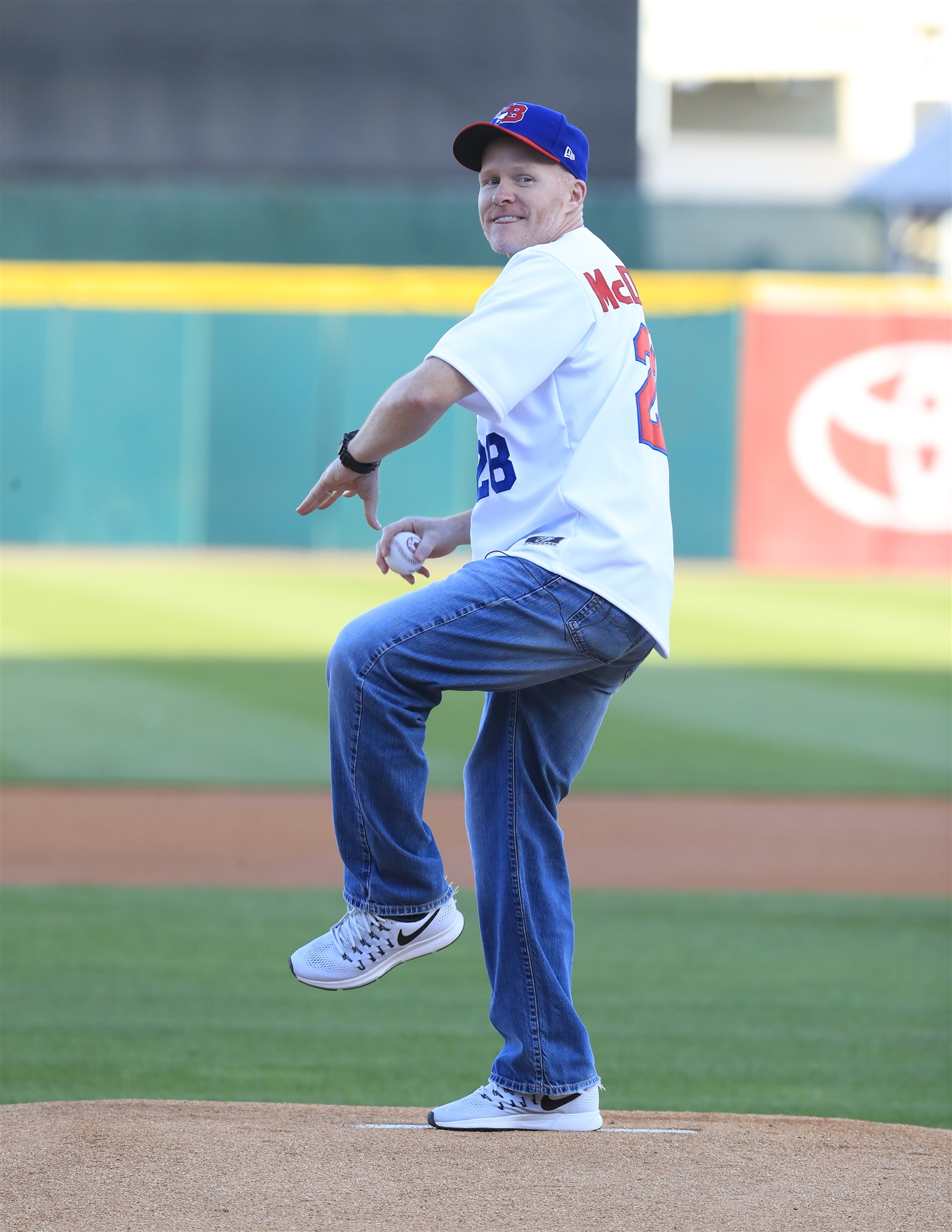 Buffalo Bills coach Sean McDermott throws out the ceremonial first pitch prior to the Pawtucket Red Sox and Buffalo Bisons game at Coca-Cola Field on Friday, May 19, 2017.