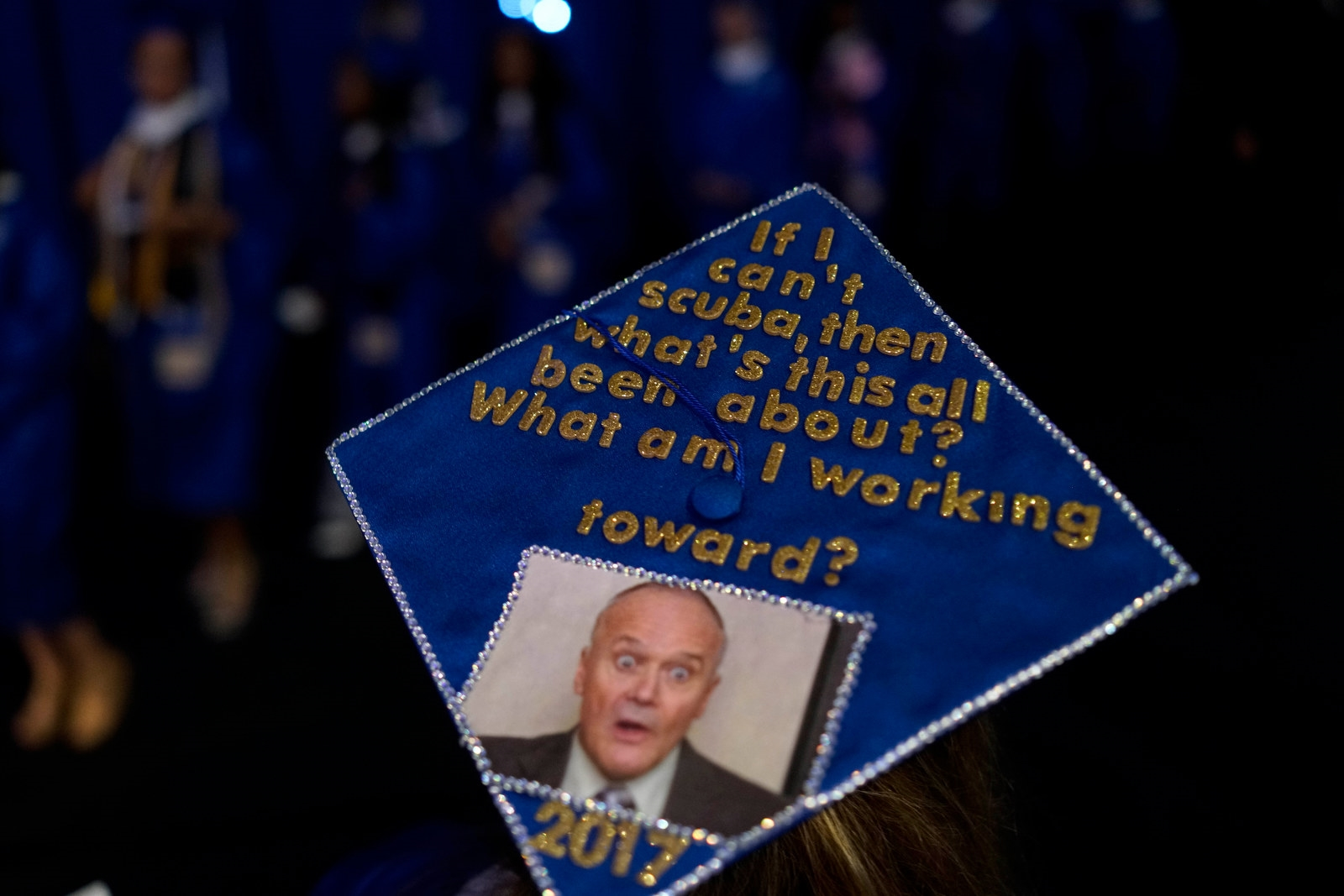 Mortarboard art worn by graduates at the University at Buffalo commencement, Sunday morning, May 21, 2017.