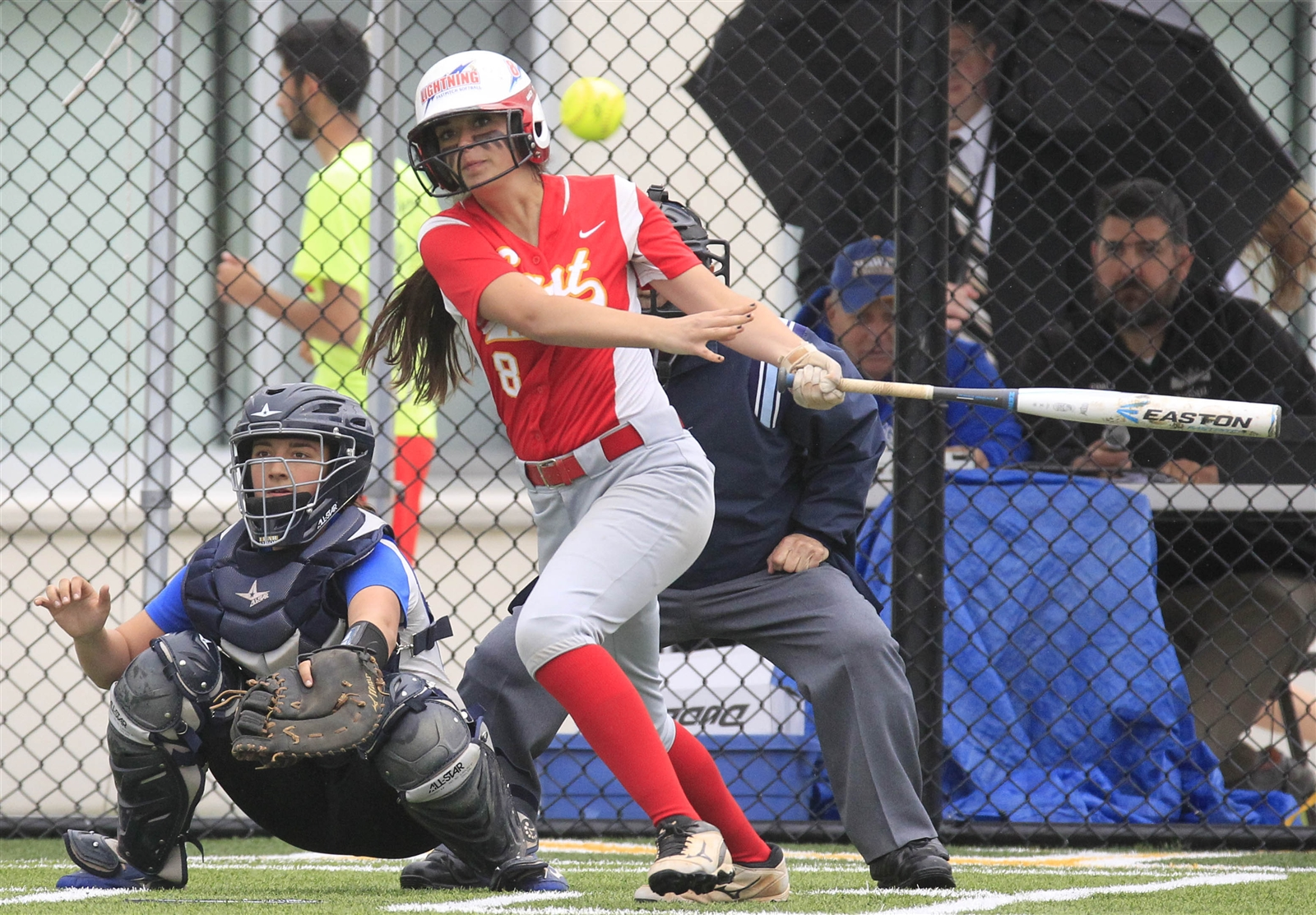 Williamsville Eastu2019s Brianna Bucello hits an rbi double in the first inning against Williamsville South at Williamsville North High School on Thursday, May 25, 2017.