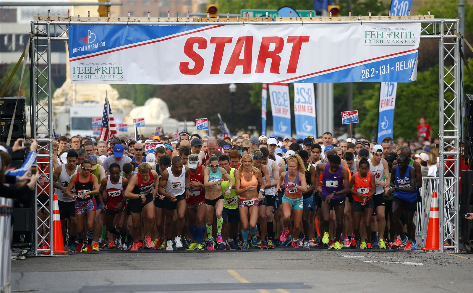 Runners take off from the start of the Buffalo Marathon on Sunday, May 28, 2017.
