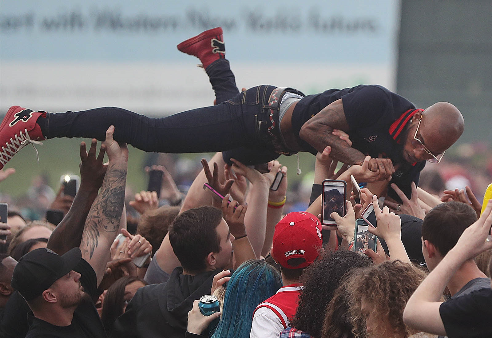 Future kicked off the Darien Lake concert season last week. Here, Tory Lanez crowd-surfs with the fans on the lawn during the performance.