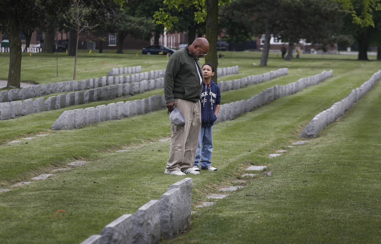 Grover Coleman and his grandson, Aidan Coleman, make annual Memorial Day trips to Forest Lawn to visit the graves of Grover's father, brother, and a close family friend, all veterans.