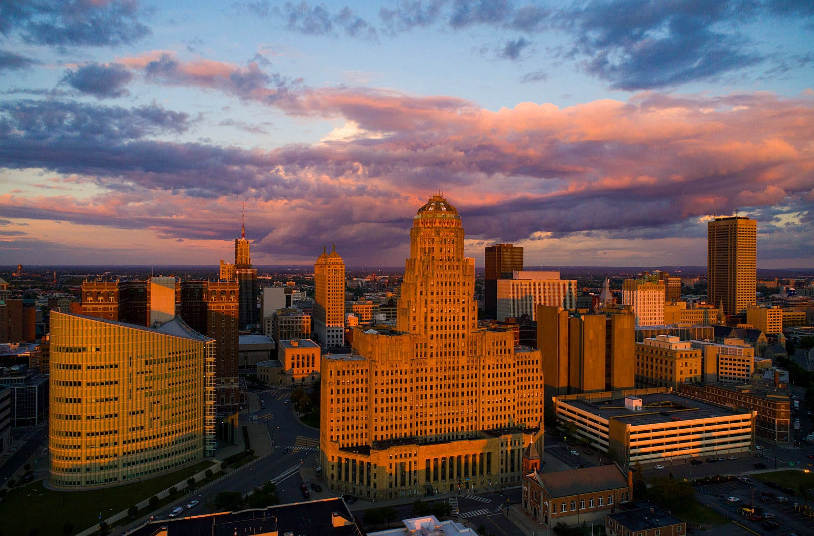 A view of Buffalo City Hall at sunset.
