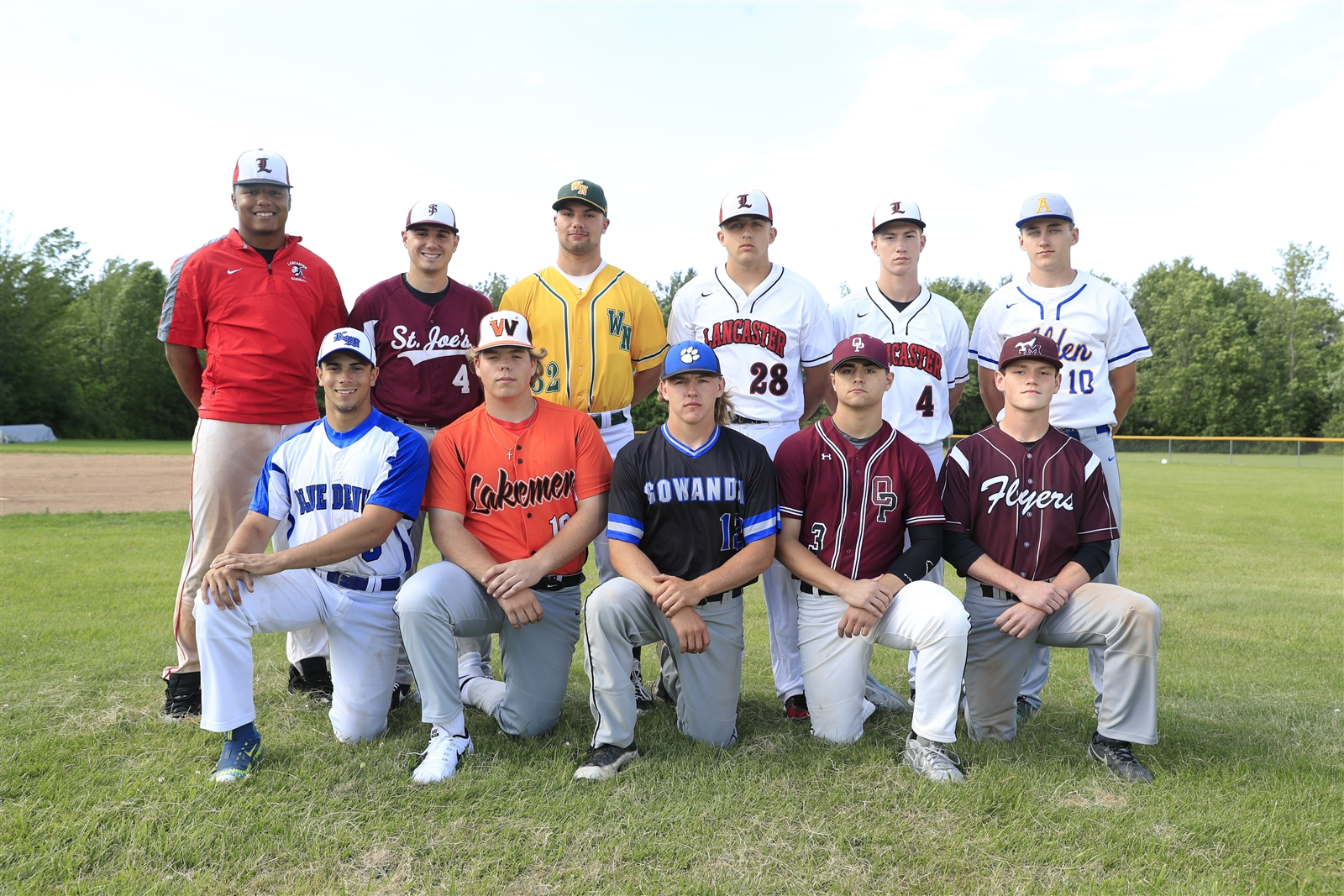 The All-Western New York baseball first team, front row from left: Benny Serrano (Kenmore West),John Bender (Wilson), Matt John Bender (Wilson), Cole Hollins (Orchard Park), Mike Flemming (Maryvale).  Back row from left: Leugim Castillo (Lancaster), Dennis Gagliardo (St. Joe's), Josh Surowiec (Williamsville North), Ben Damiani (Lancaster), Collin Reformat (Lancaster), Tom Bednarski (Alden). Not pictured: Garrett Boldt (Olean).