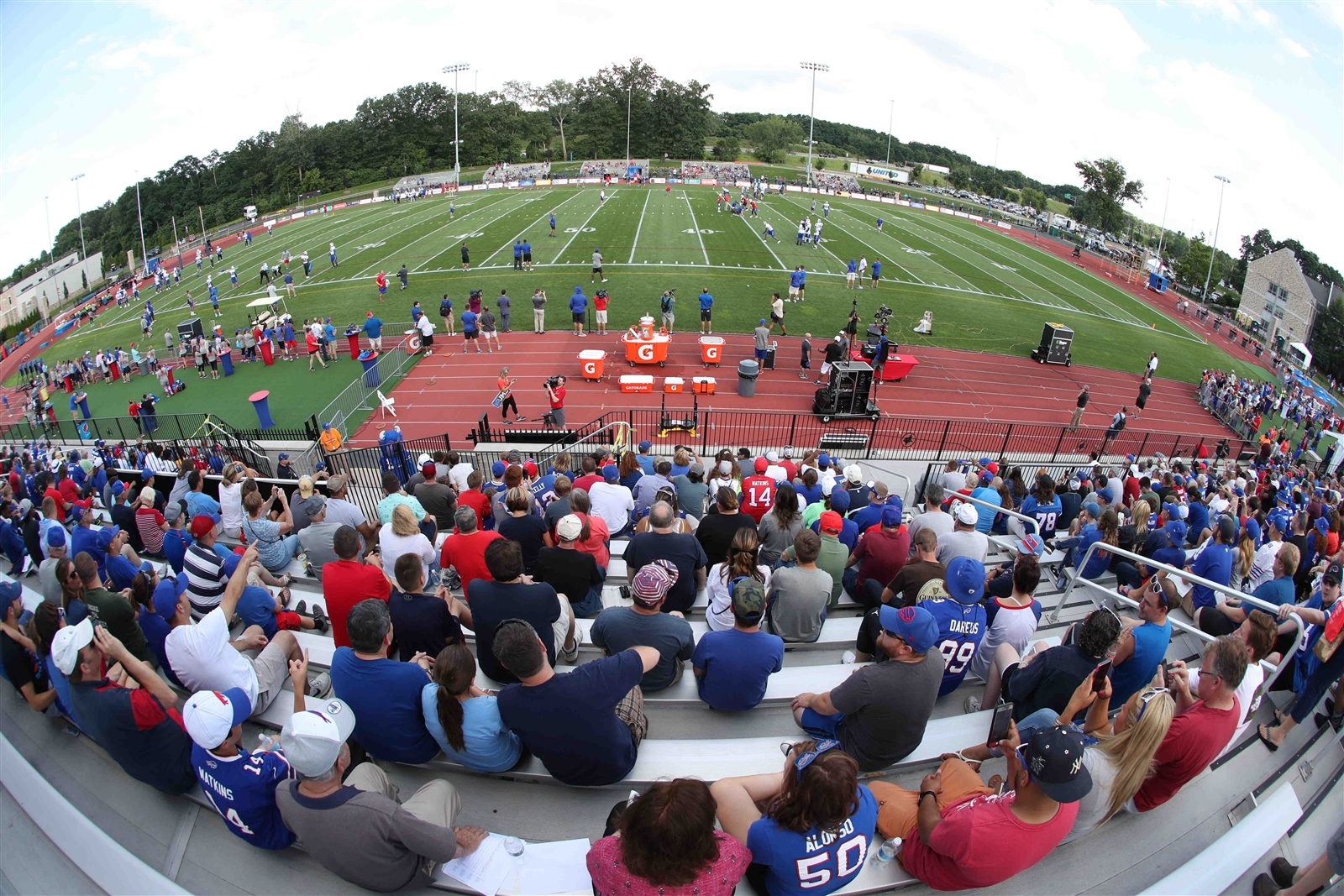 Buffalo Bills fans packed the stadium to watch the the first day of the Bills 2017 training camp at St. John Fisher.