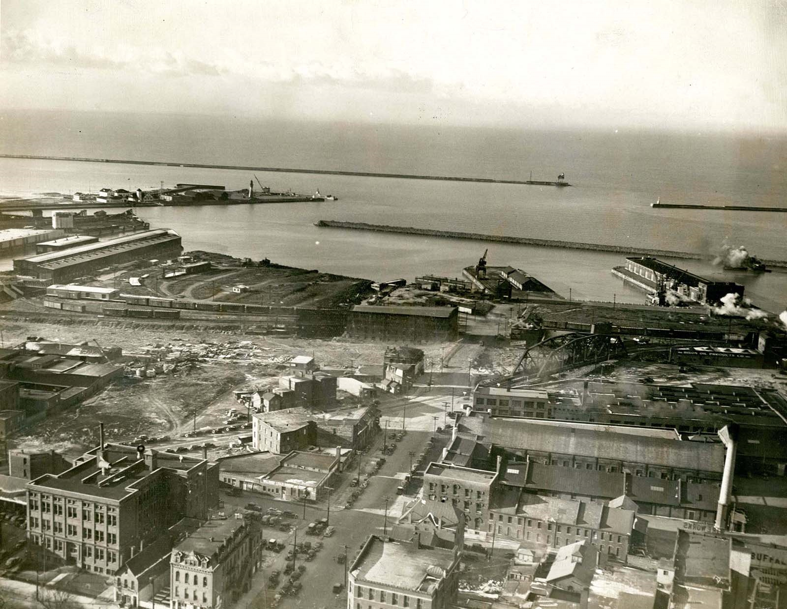 1919: An aerial photo of Buffalo's waterfront, looking very different than it does today.