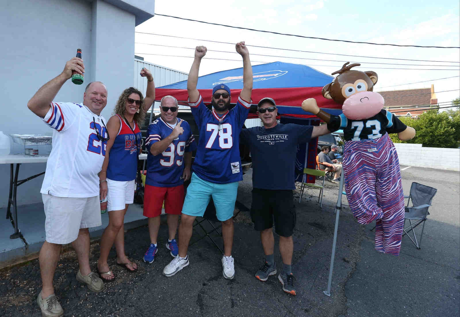 Bills fans party before the game.
