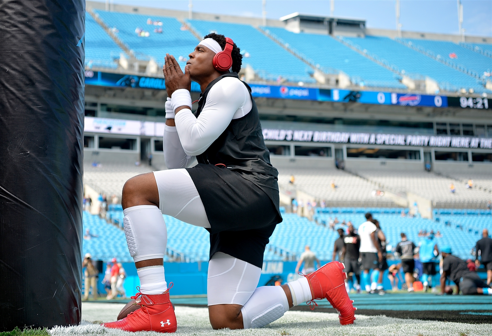 Cam Newton of the Carolina Panthers warms up before the game against the Buffalo Bills on Sunday, Sept. 17, 2017, at Bank of America Stadium in Charlotte, N.C.