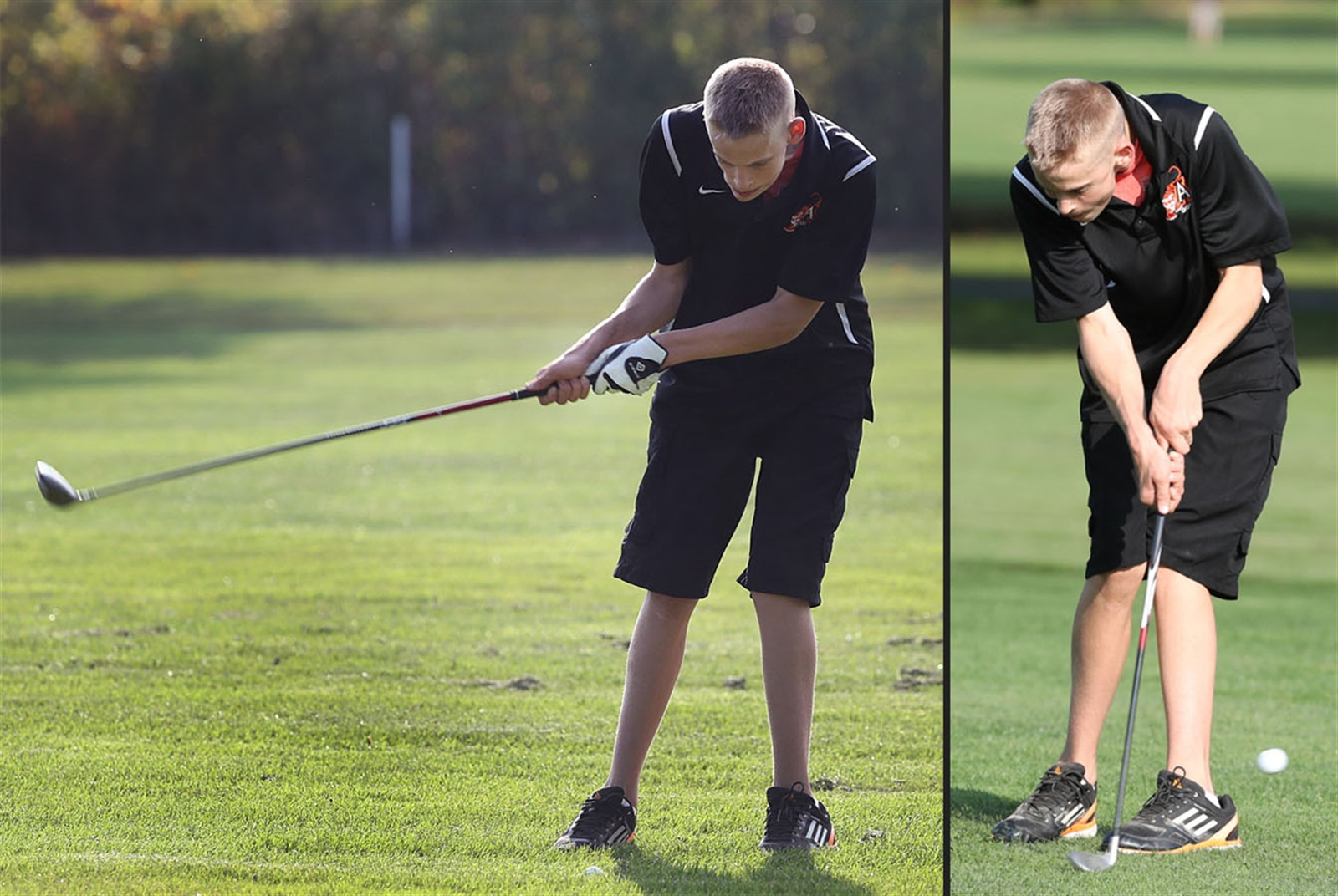 Nathan Forrestel played his first varsity golf of his high school career. Nate, who was born with cerebral palsy, hits onto the first tee. Forrestel went through his pre-shot routine, then let it rip.