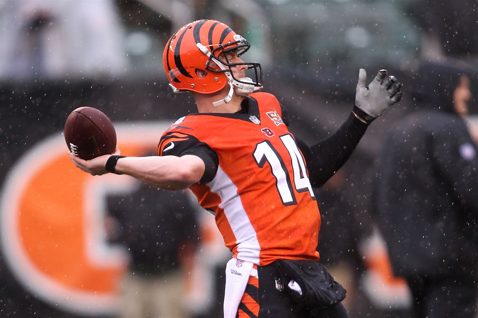 Bengals quarterback Andy Dalton warms up prior to the start of the game against the Buffalo Bills.